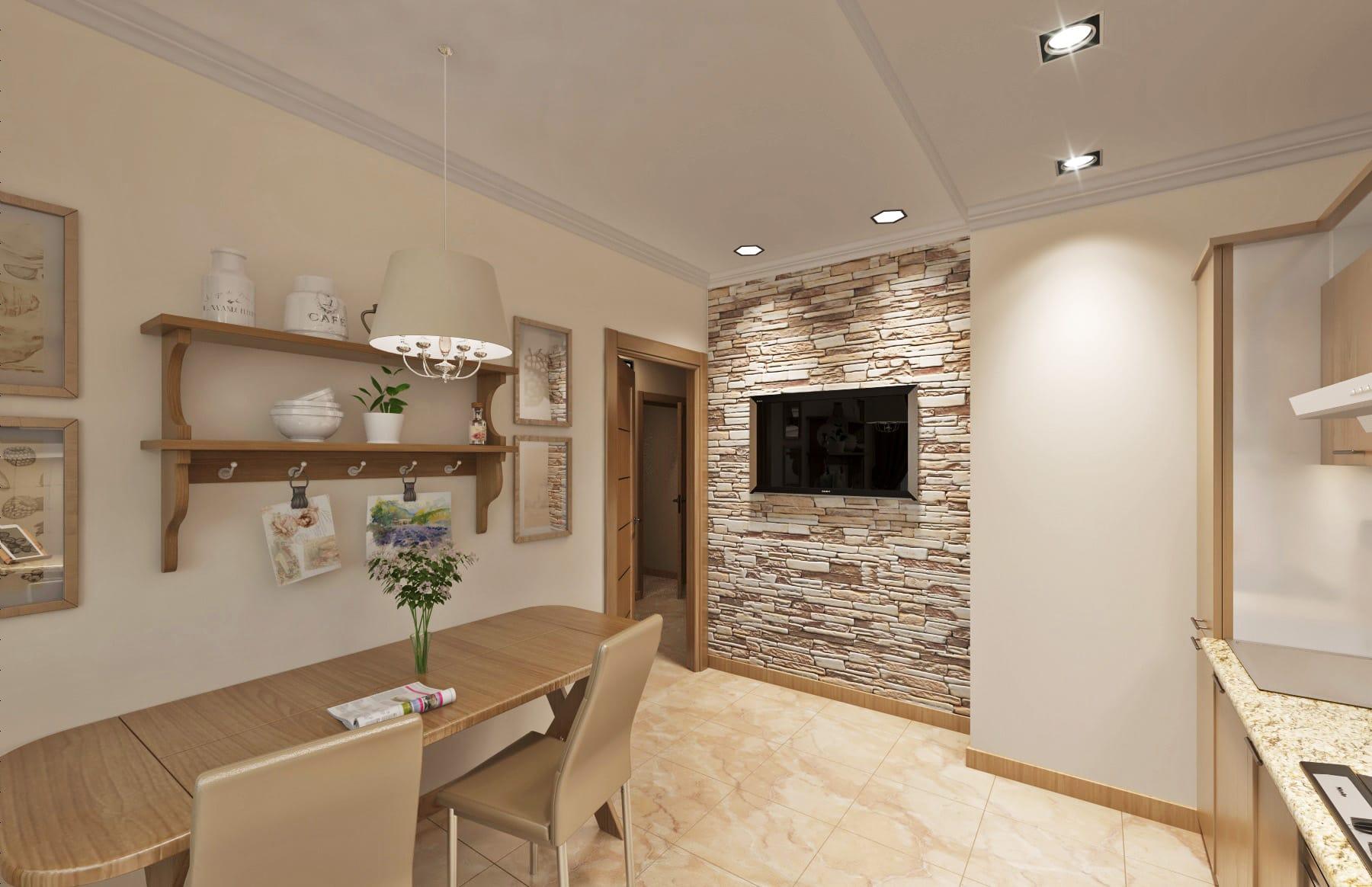 дизайн интерьера кухни с натуральным камнем и деревом