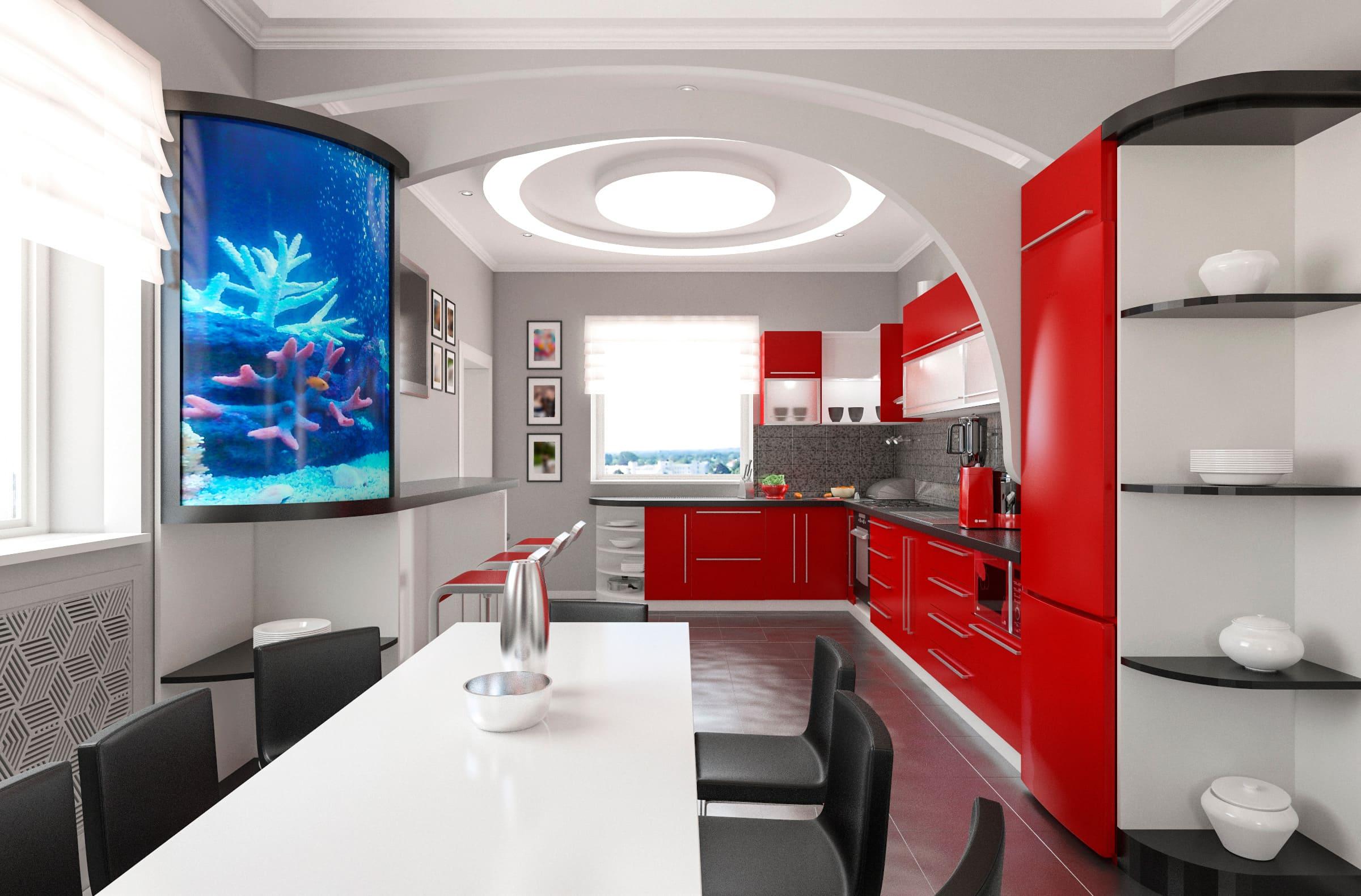Дизайн интерьера кухни - прихожей в частном доме в Могилеве
