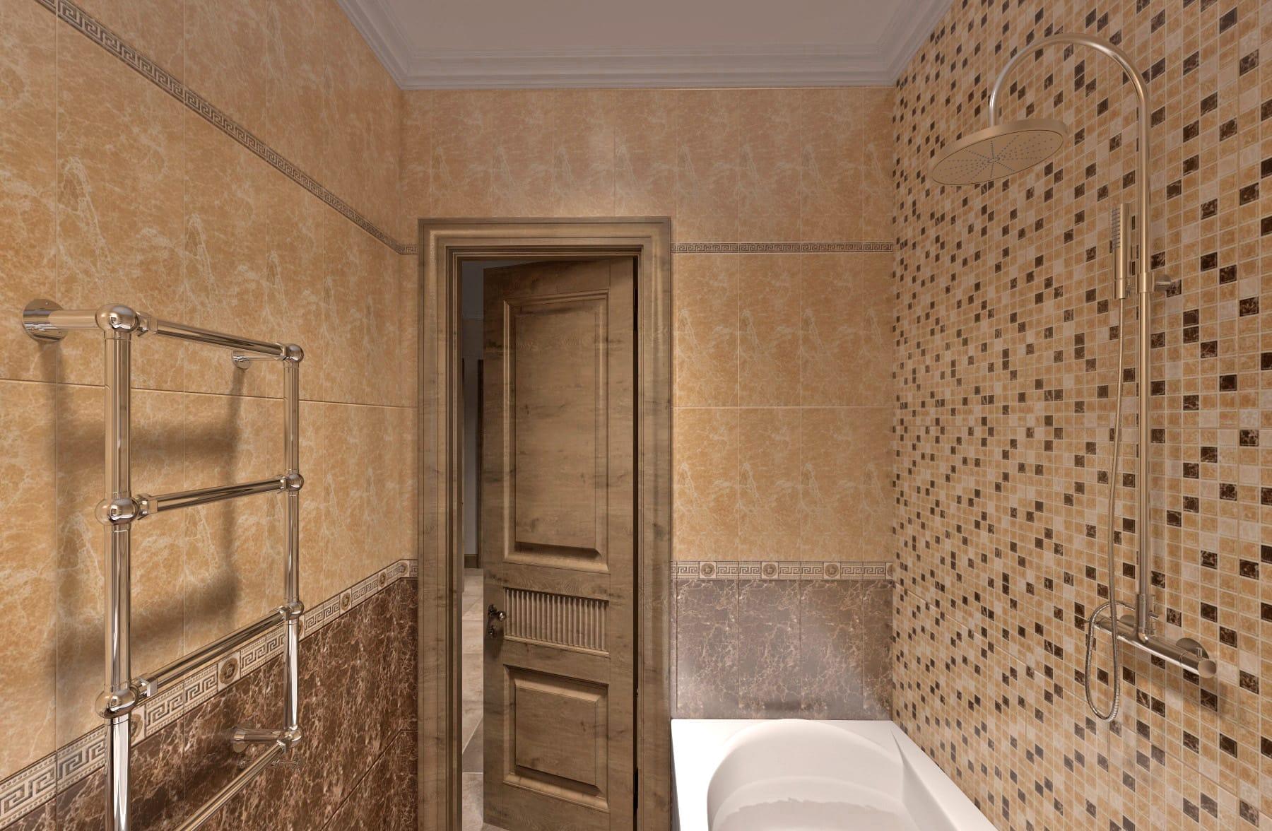 Дизайн интерьера в Ставрополе санузел мозайка возле ванной