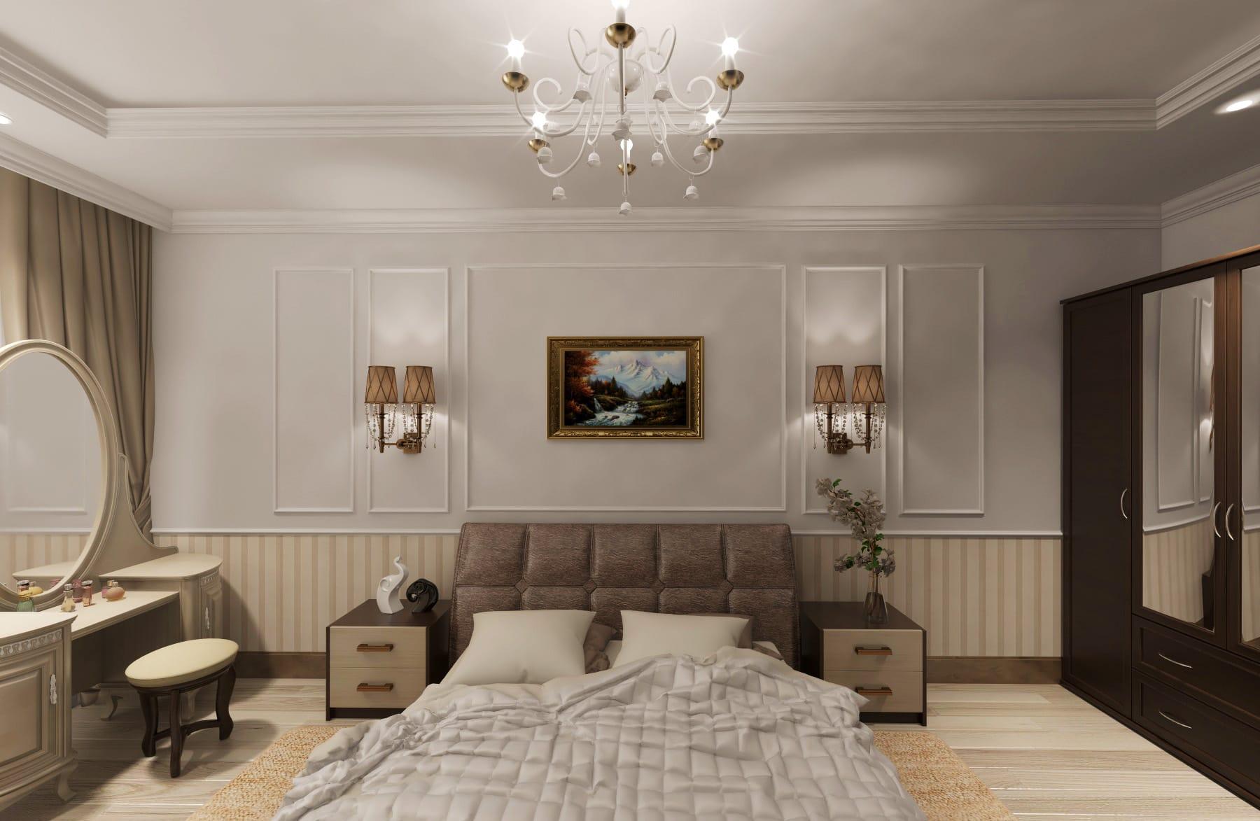 Дизайн интерьера квартиры в Ставрополе, спальня с картами на стенах бра посреди карт, кровать с кожаной спинкой