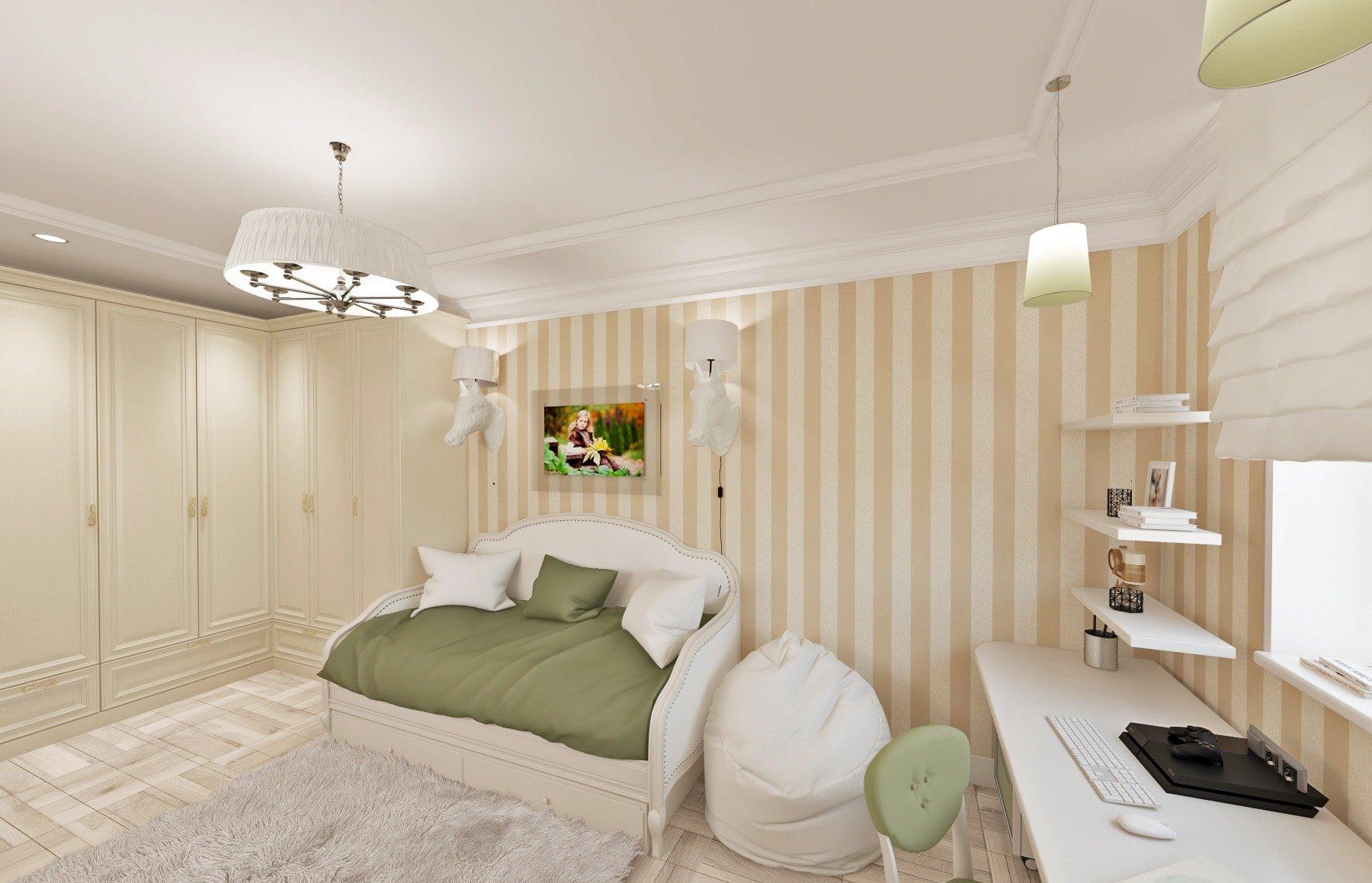 дизайн интерьера детской, современная классика, светлая комната, обои с вертикальными полосами, креативные бра голова лошади