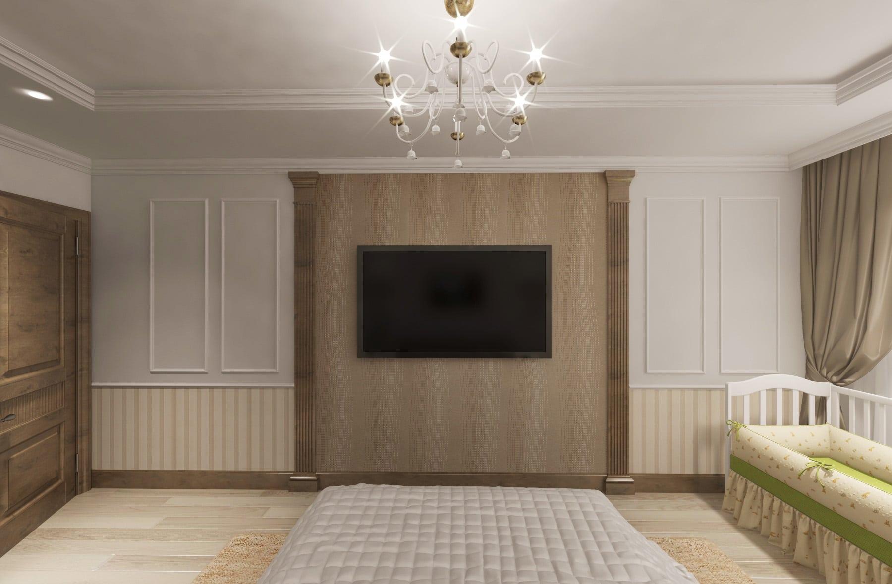 Дизайн интерьера в Ставрополе спальня телевизор между пилястрами карты молдинги