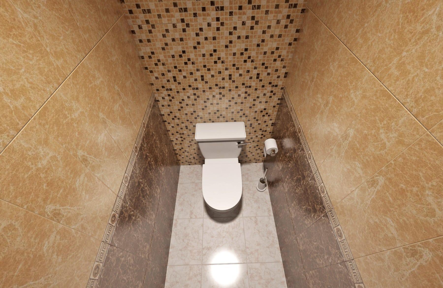 Дизайн интерьера в Ставрополе туалет мозайка за унитазом