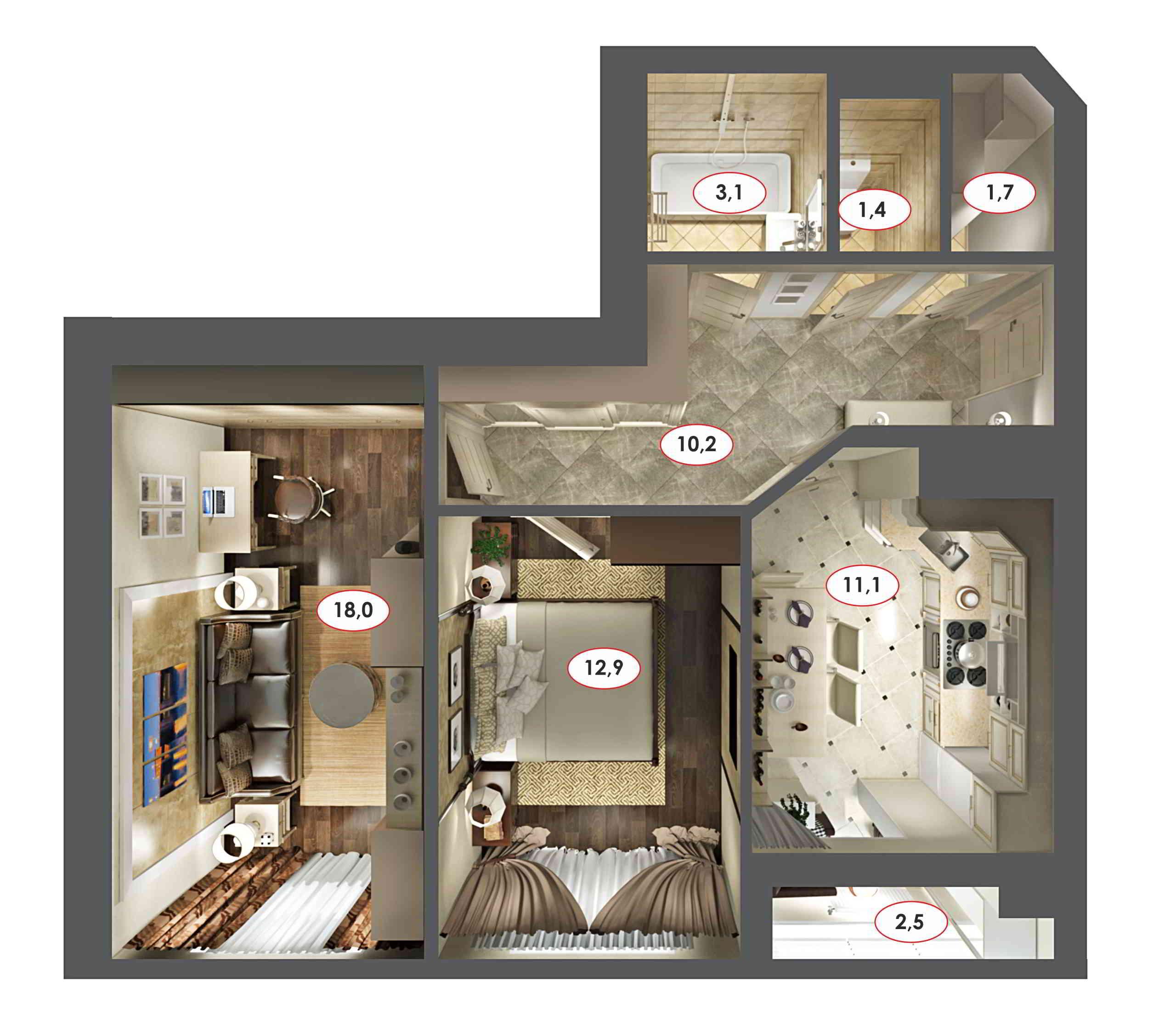 дизайн интерьера квартиры в гомеле вид сверху