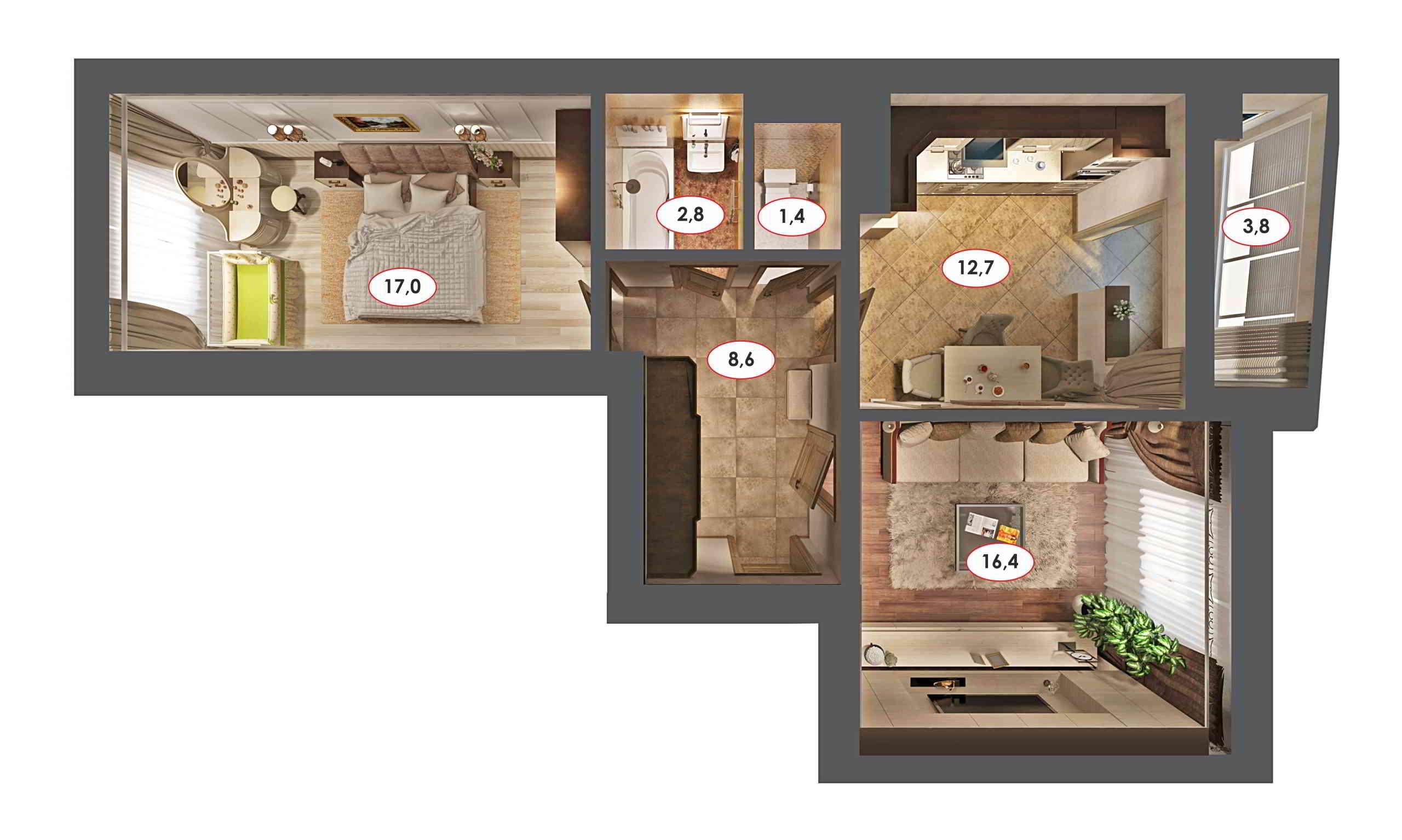 Дизайн интерьера квартиры в Ставрополе визуализация вида сверху