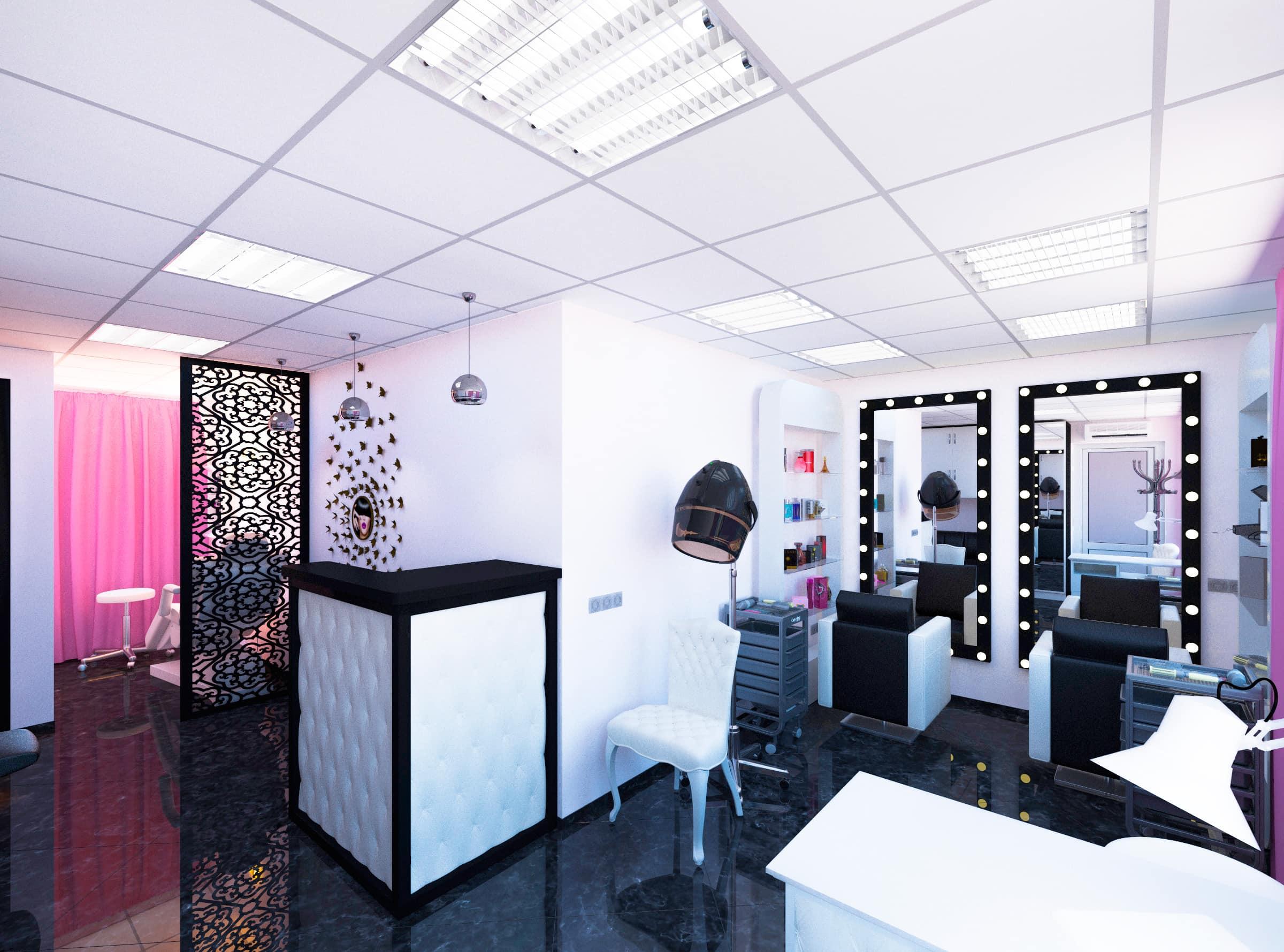 интерьер салона красоты, декоративные резные перегородки, барная стойка с каретной стяжкой, стеллаж в форме айфона