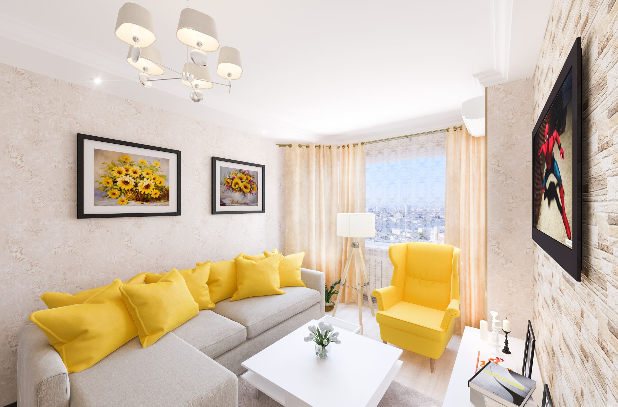 дизайн интерьера гостиной, желтое кресло, желтые подушки, желтые картины, журнальный столик икеа