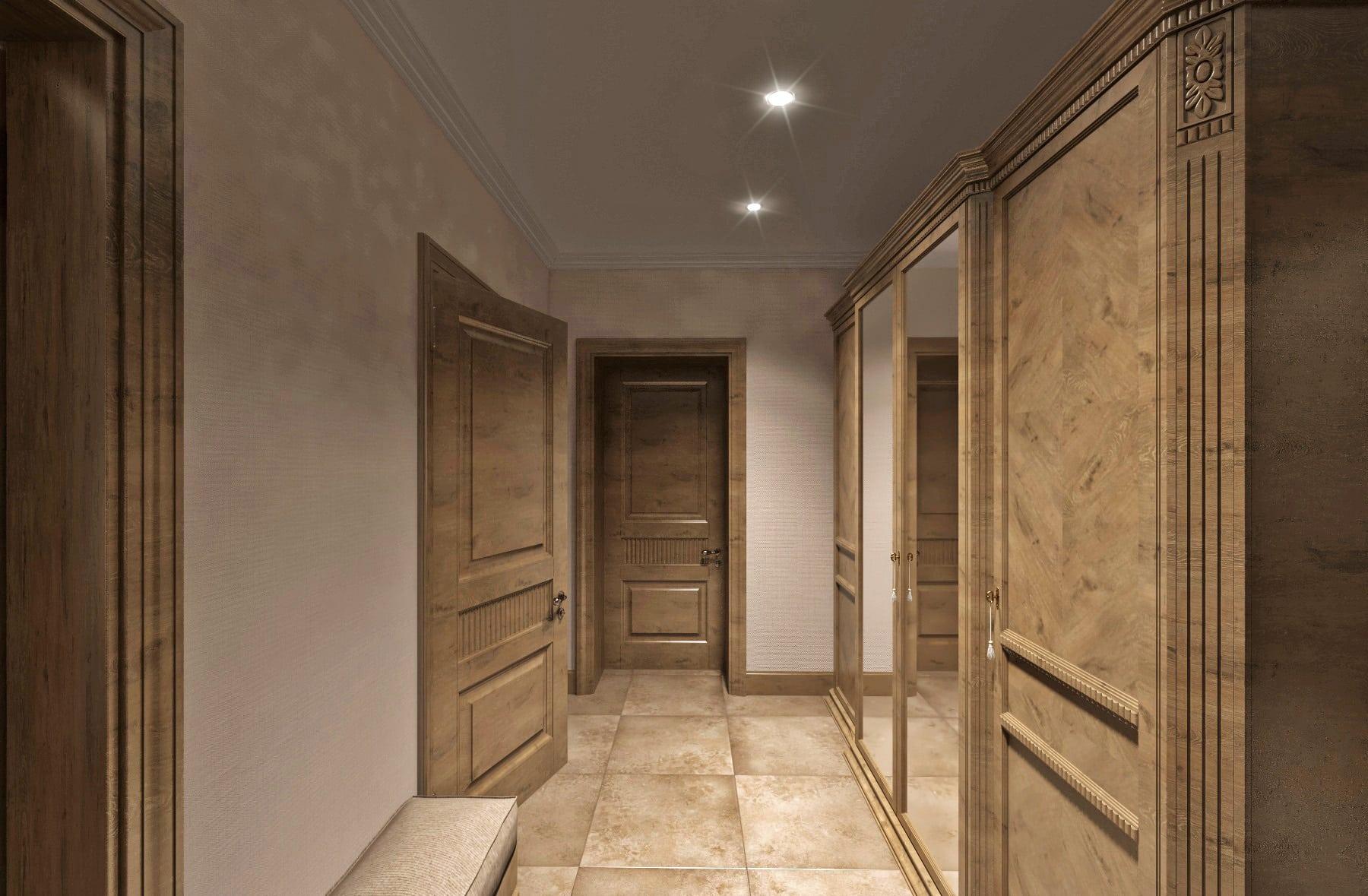 Дизайн интерьера в Ставрополе пуф в коридоре одинаковые двери