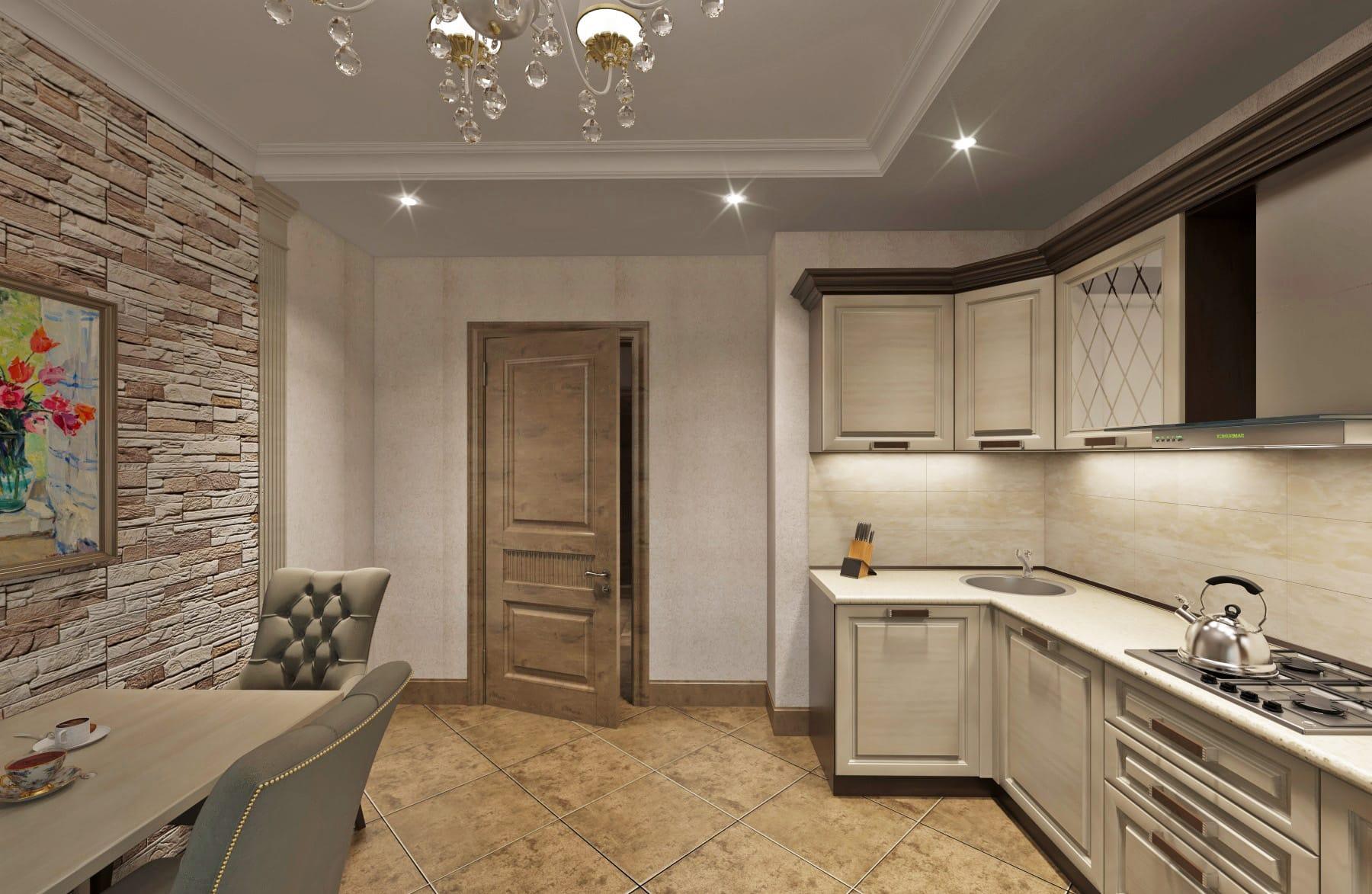 Дизайн интерьера в Ставрополе кухня светлая камень натуральный между пилястрами мойка в углу