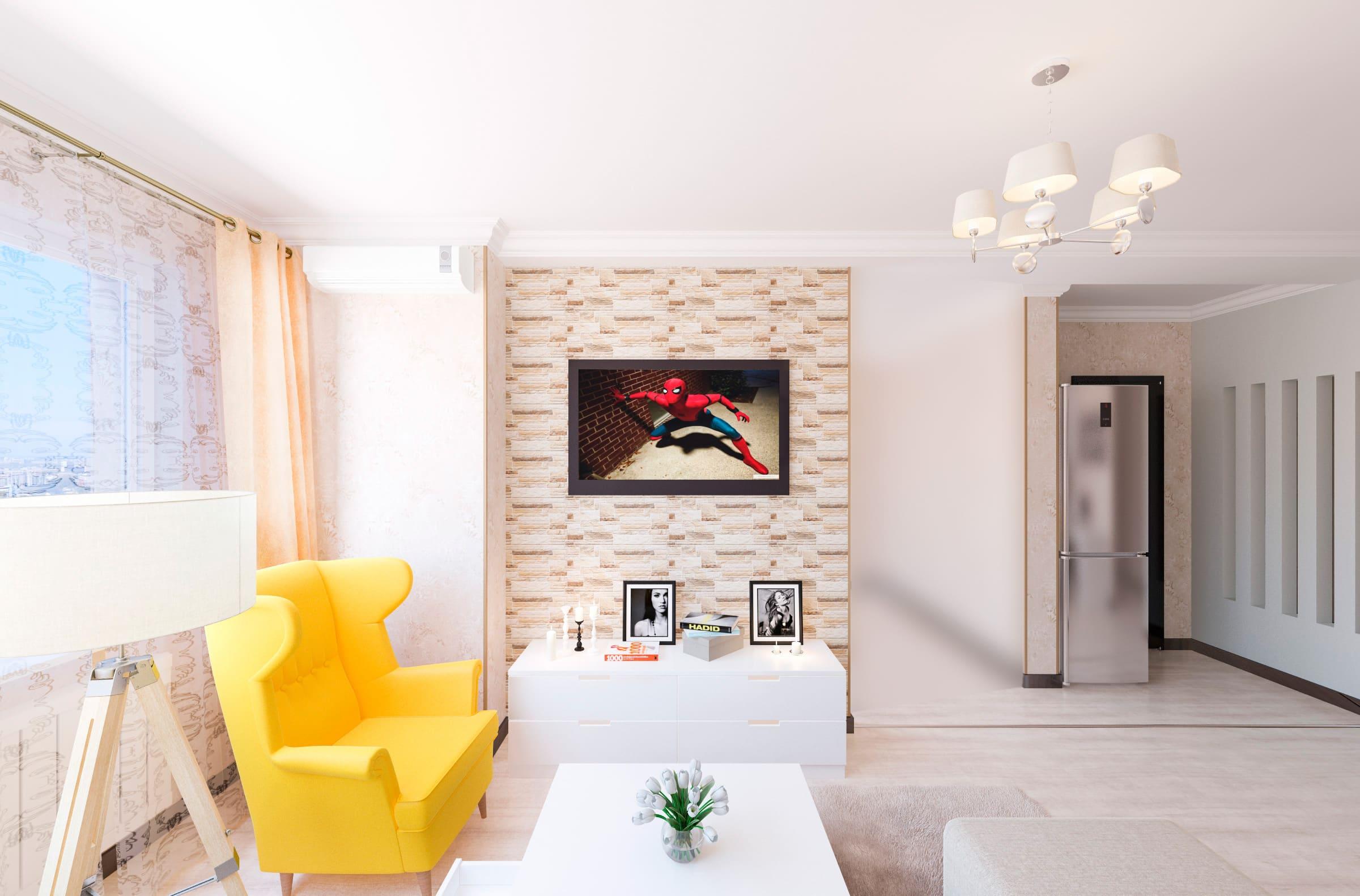 дизайн интерьера вид на телевизор