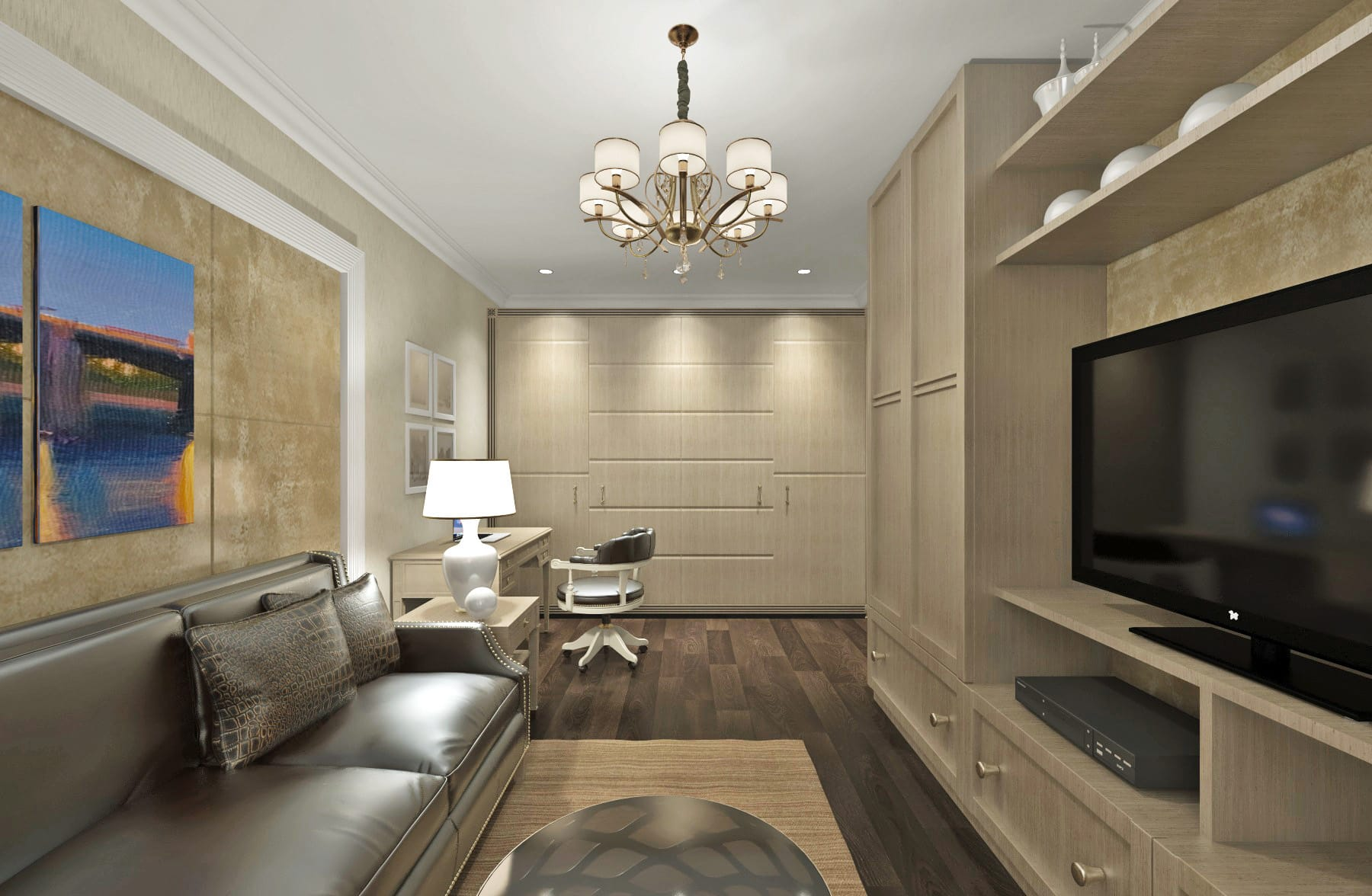 гостиная с шкафом под телевизор и гардеробной