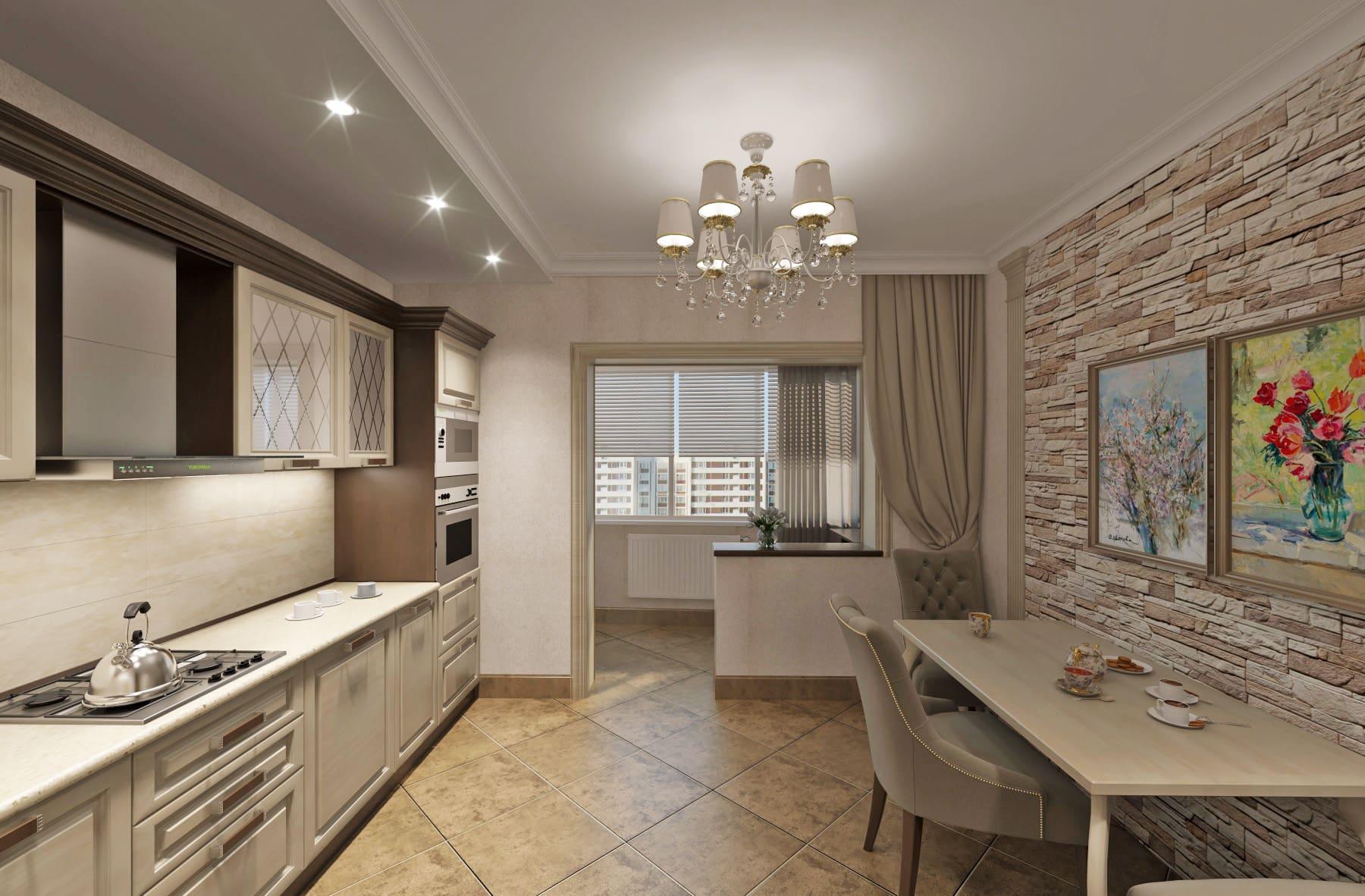 Дизайн интерьера в Ставрополе кухня плитка песочного цвета люстра классическая