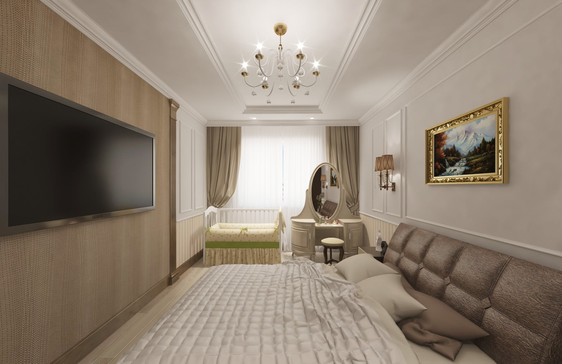 Дизайн интерьера в Ставрополе спальня пилястры картина в золотой раме