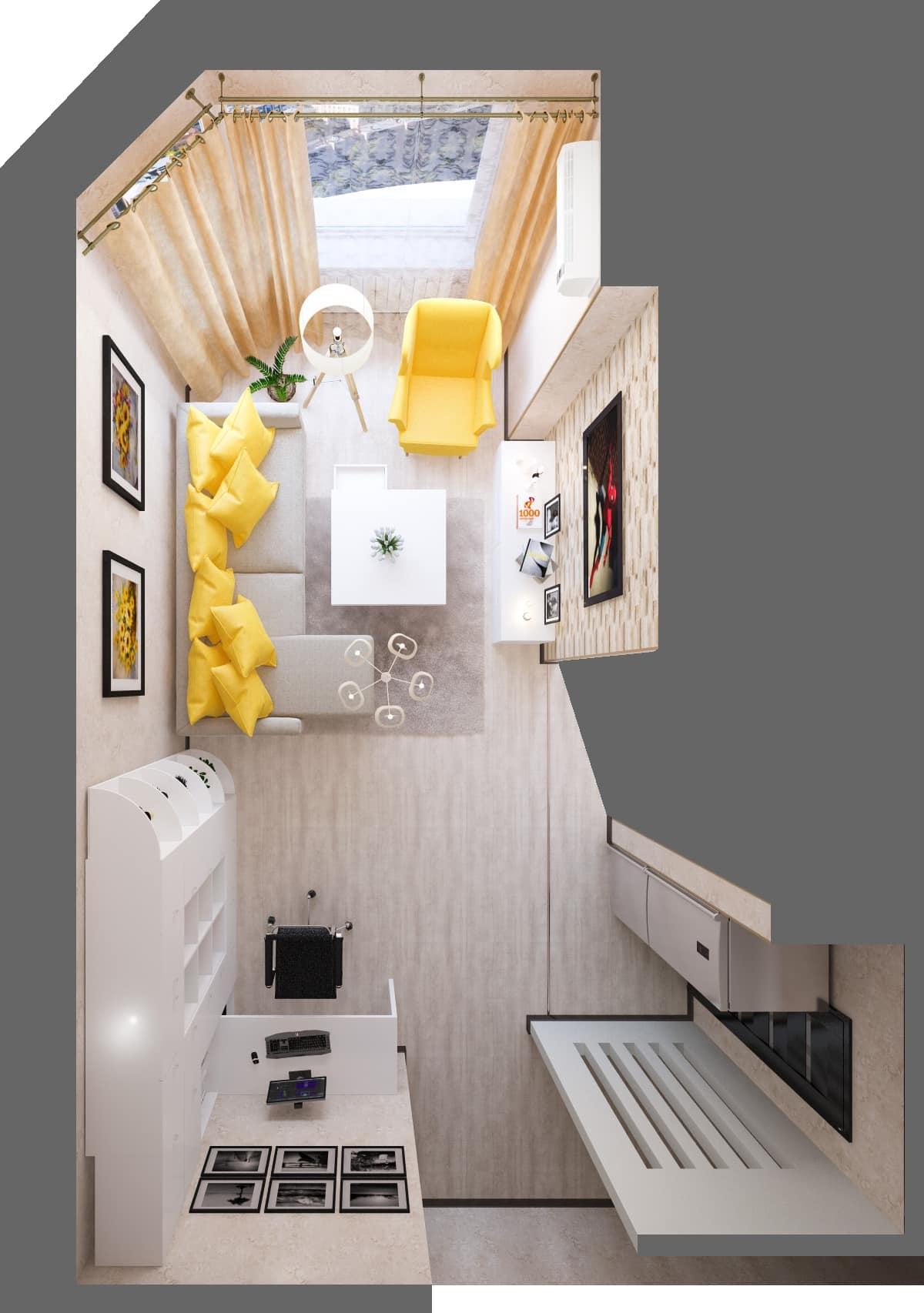 дизайн интерьера гостиной вид сверху