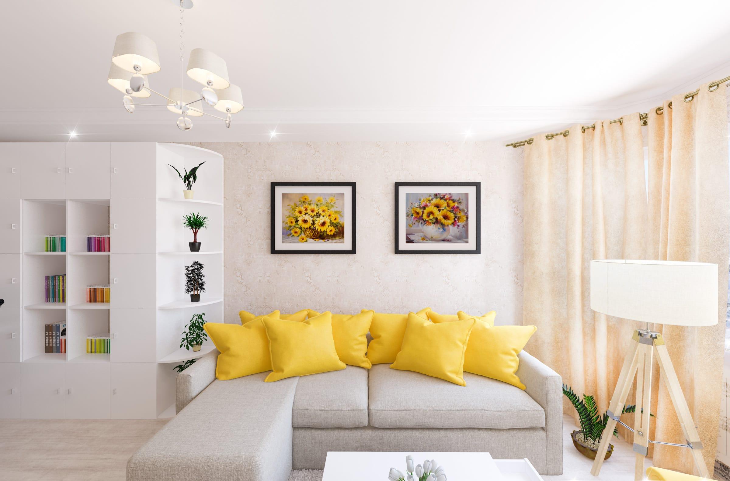 дизайн интерьера гостиной в гомеле желтые подушки картины белый шкаф с открытыми и закрытыми полками
