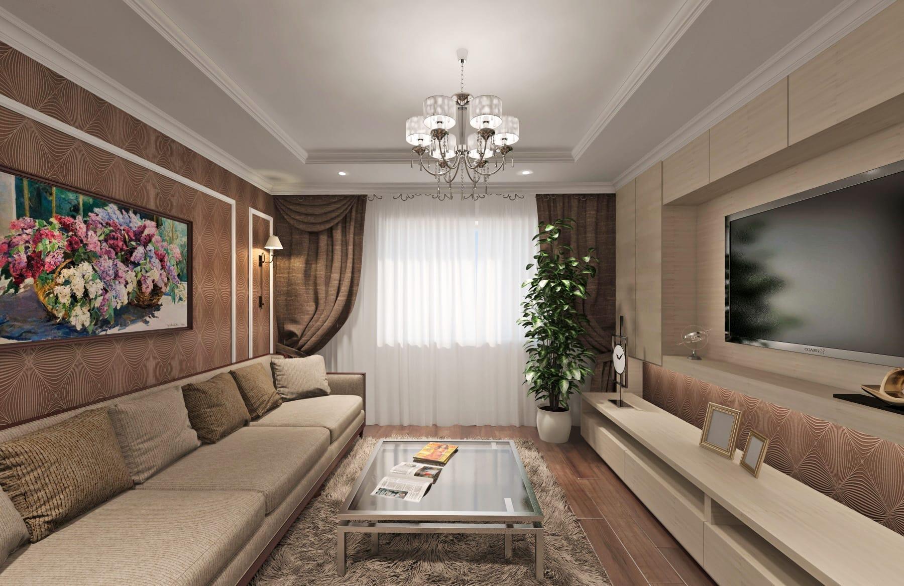 Дизайн интерьера в Ставрополе гостиная с диваном коричневые обои белый потолок