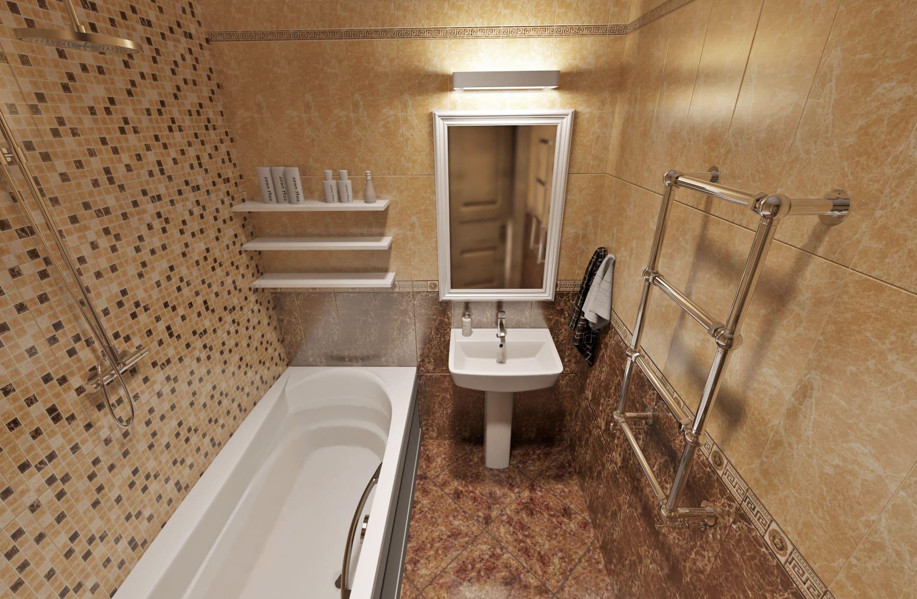 Дизайн интерьера в Ставрополе санузел зеркало с подсветкой полки возле ванной