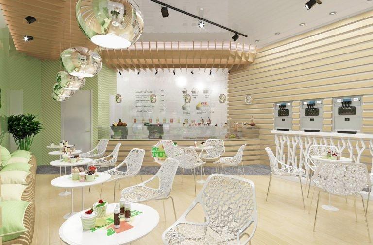 Дизайн интерьера кафе в эко стиле, деревянные панели на стенах, белые столики и стулья, параметрический потолок