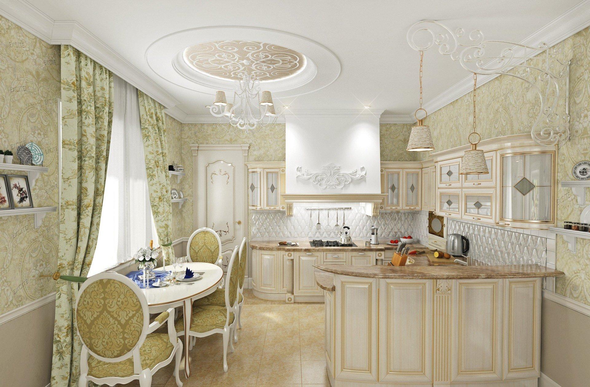 Дизайн интерьера кухни загородного дома в Классическом стиле с элементами прованса, светлая мебель с золочением, белая объемная плитка, кованый подвес над барной стойкой