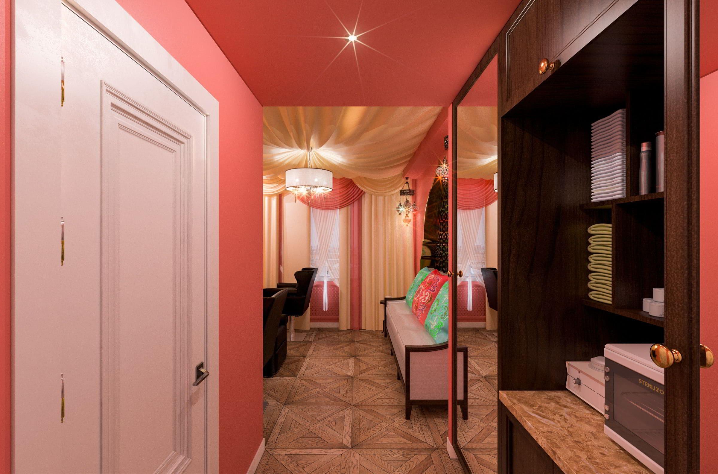 дизайн интерьера парикмахерской в турецком стиле фото, зеркала, мойка, кресла, паркет, потолок из ткани 6