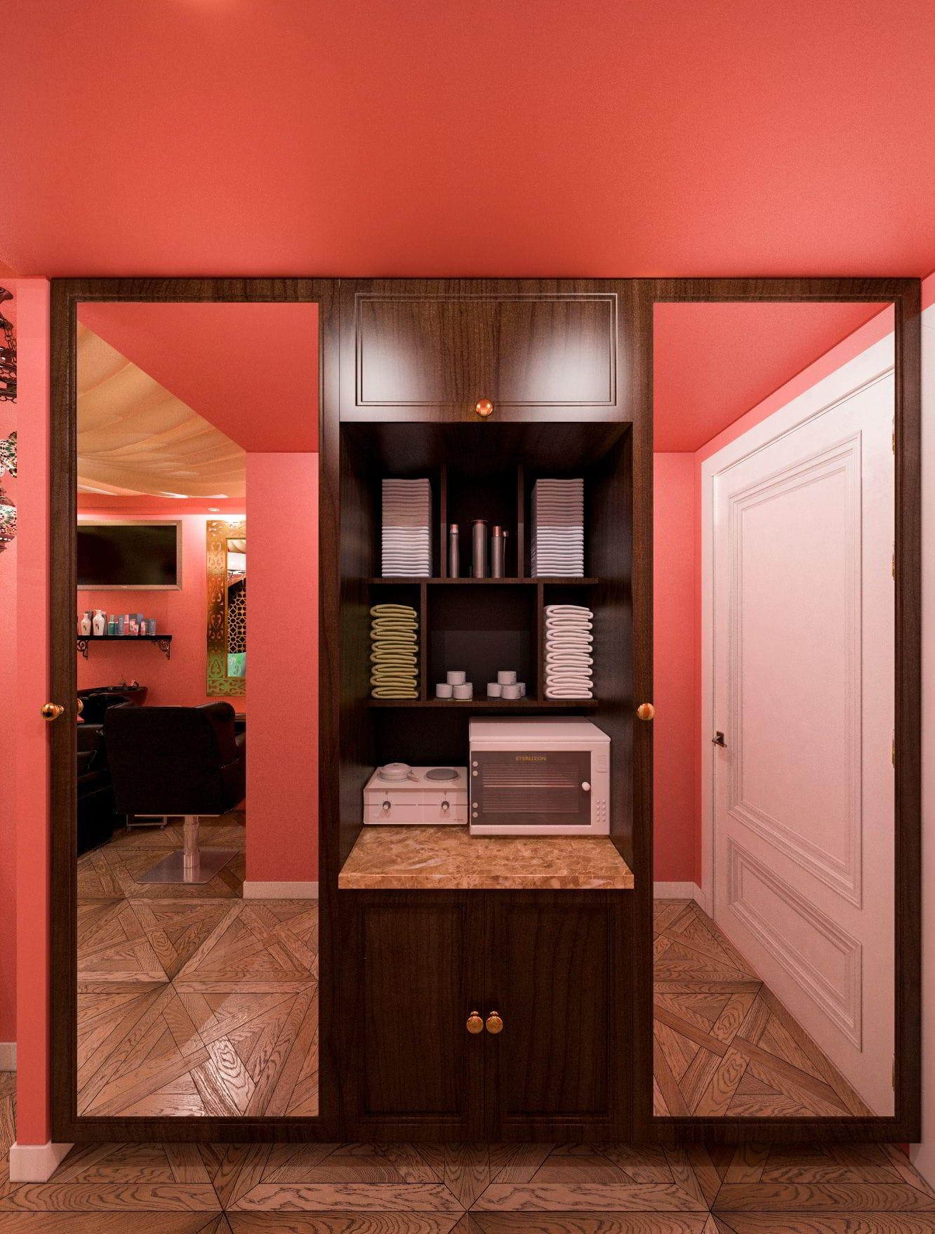 шкаф в парикмахерской дизайн