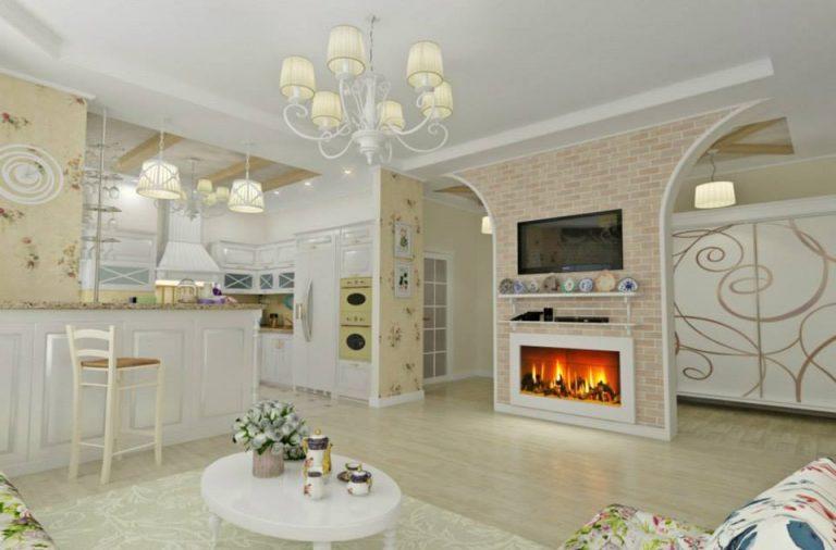 дизайн кухни гостиной прованс