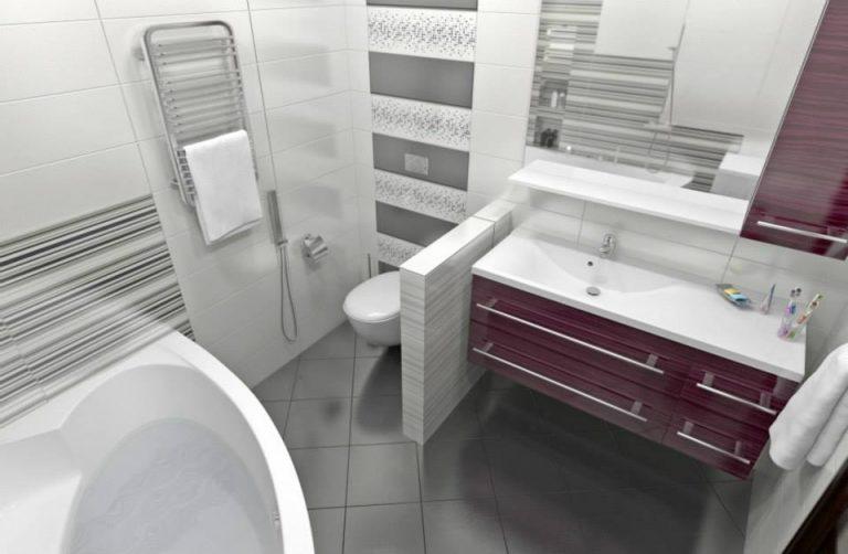 дизайн ванной бордовая плитка