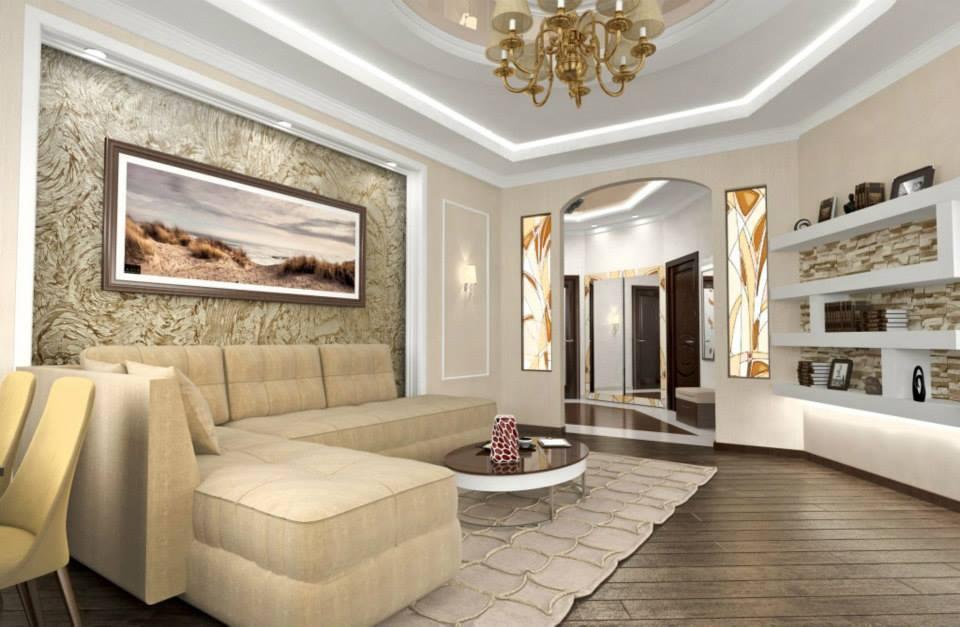 дизайн гостиной декоративная штукатурка