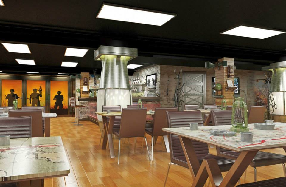 дизайн интерьера кафе в стиле милитари