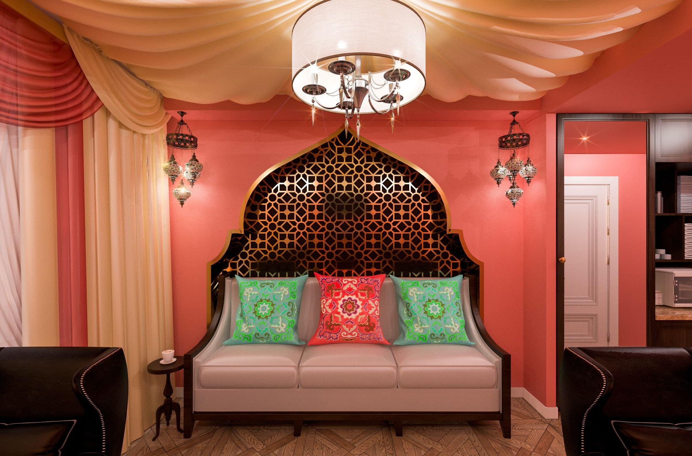 дизайн интерьера парикмахерской в турецком стиле фото, зеркала, мойка, кресла, паркет, потолок из ткани 4
