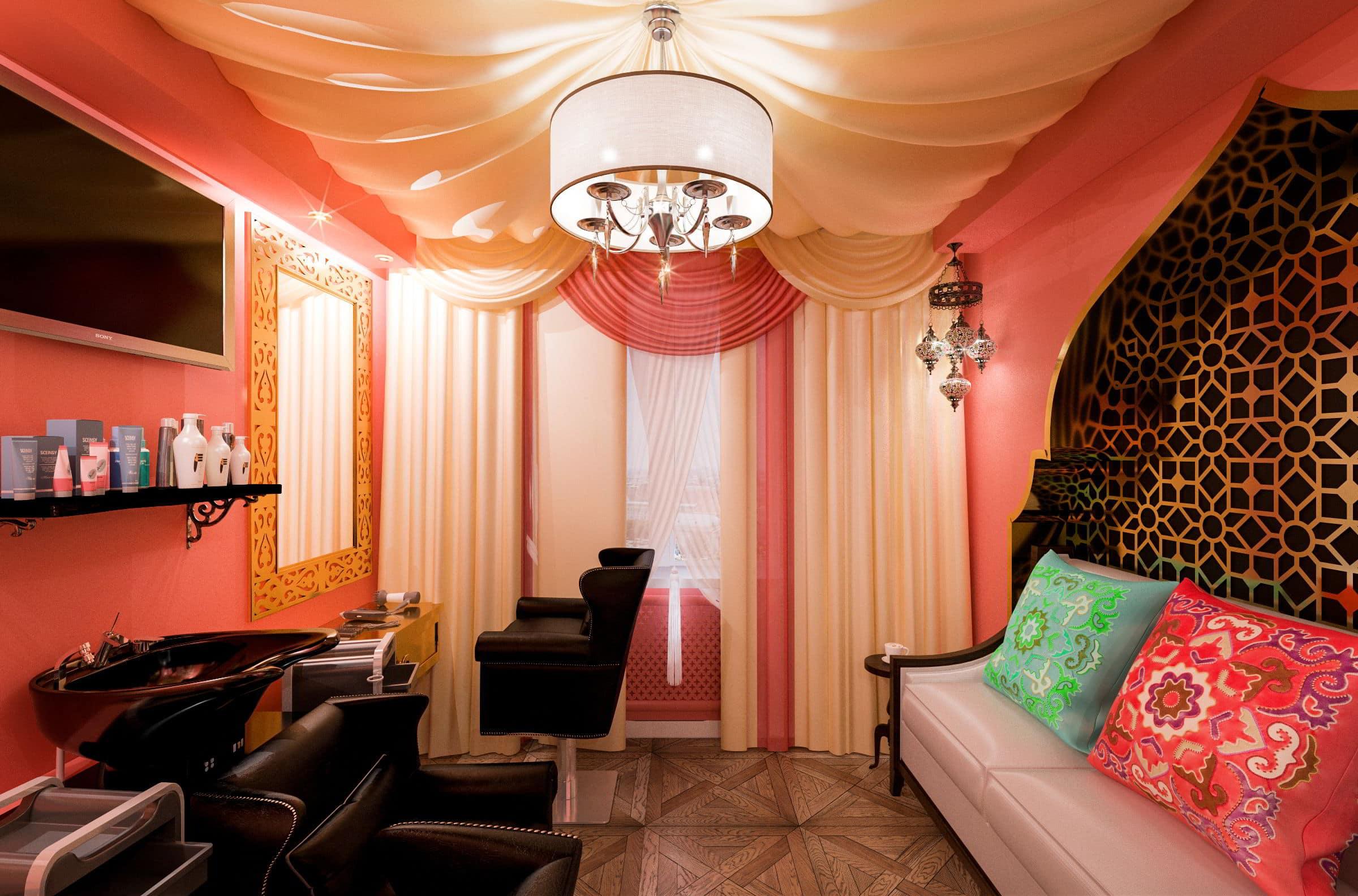 дизайн интерьера парикмахерской в турецком стиле фото, зеркала, мойка, кресла, паркет, потолок из ткани 5