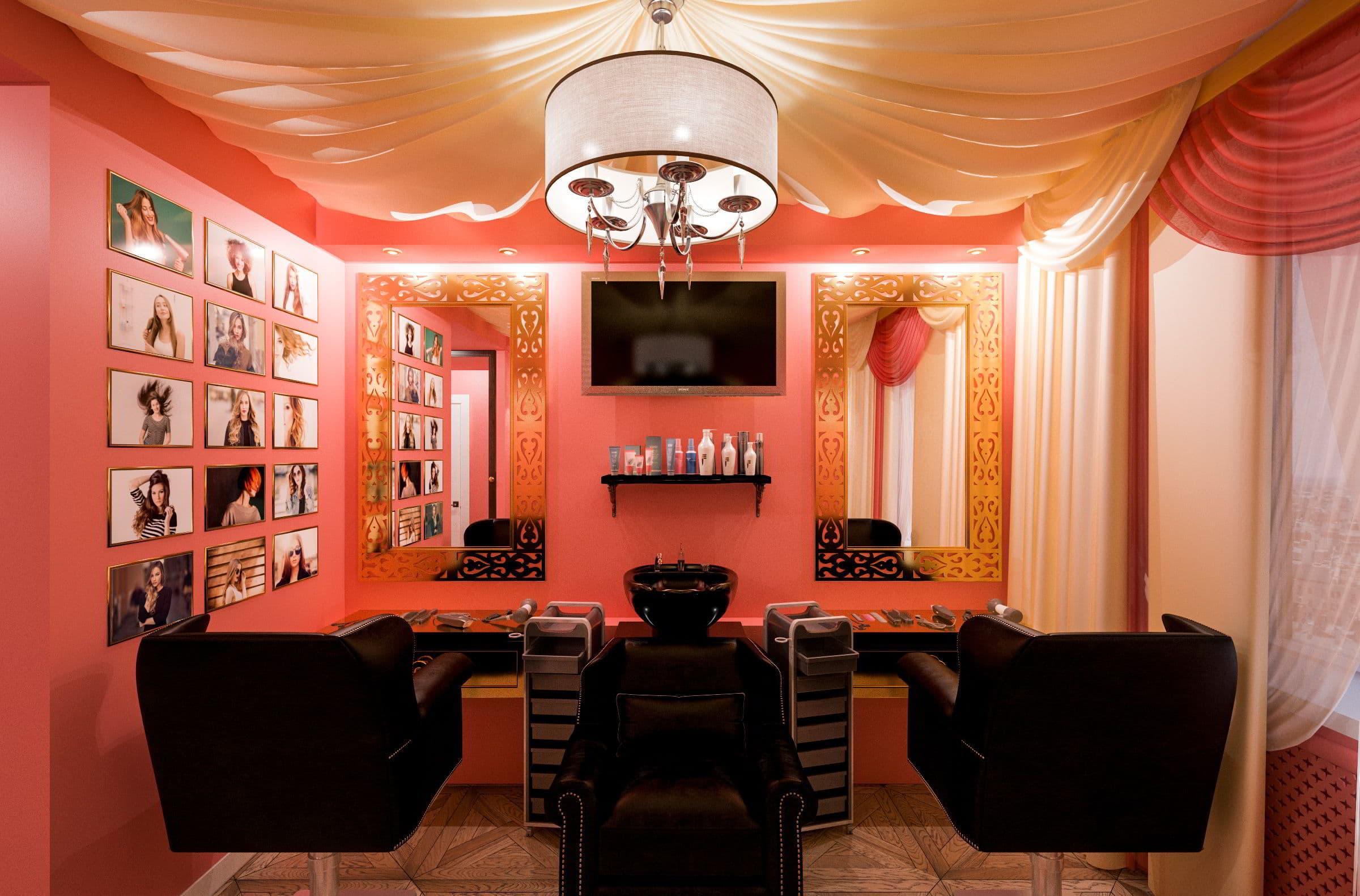 дизайн интерьера парикмахерской в турецком стиле фото, зеркала, мойка, кресла, паркет, потолок из ткани 3