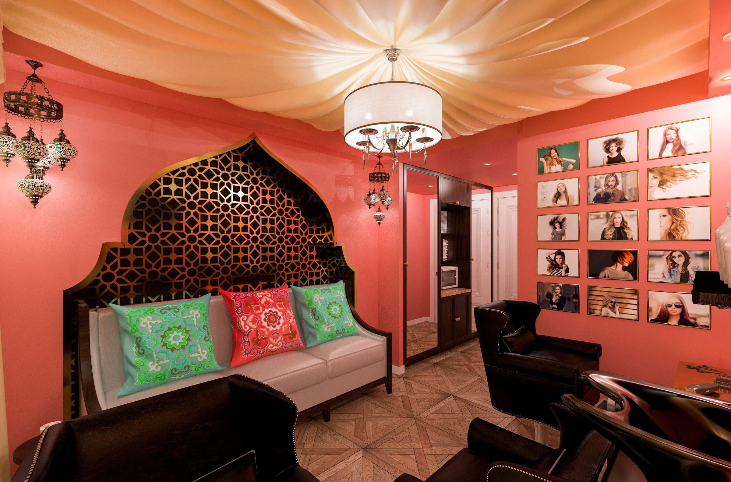дизайн интерьера парикмахерской в турецком стиле фото, зеркала, мойка, кресла, паркет, потолок из ткани 2