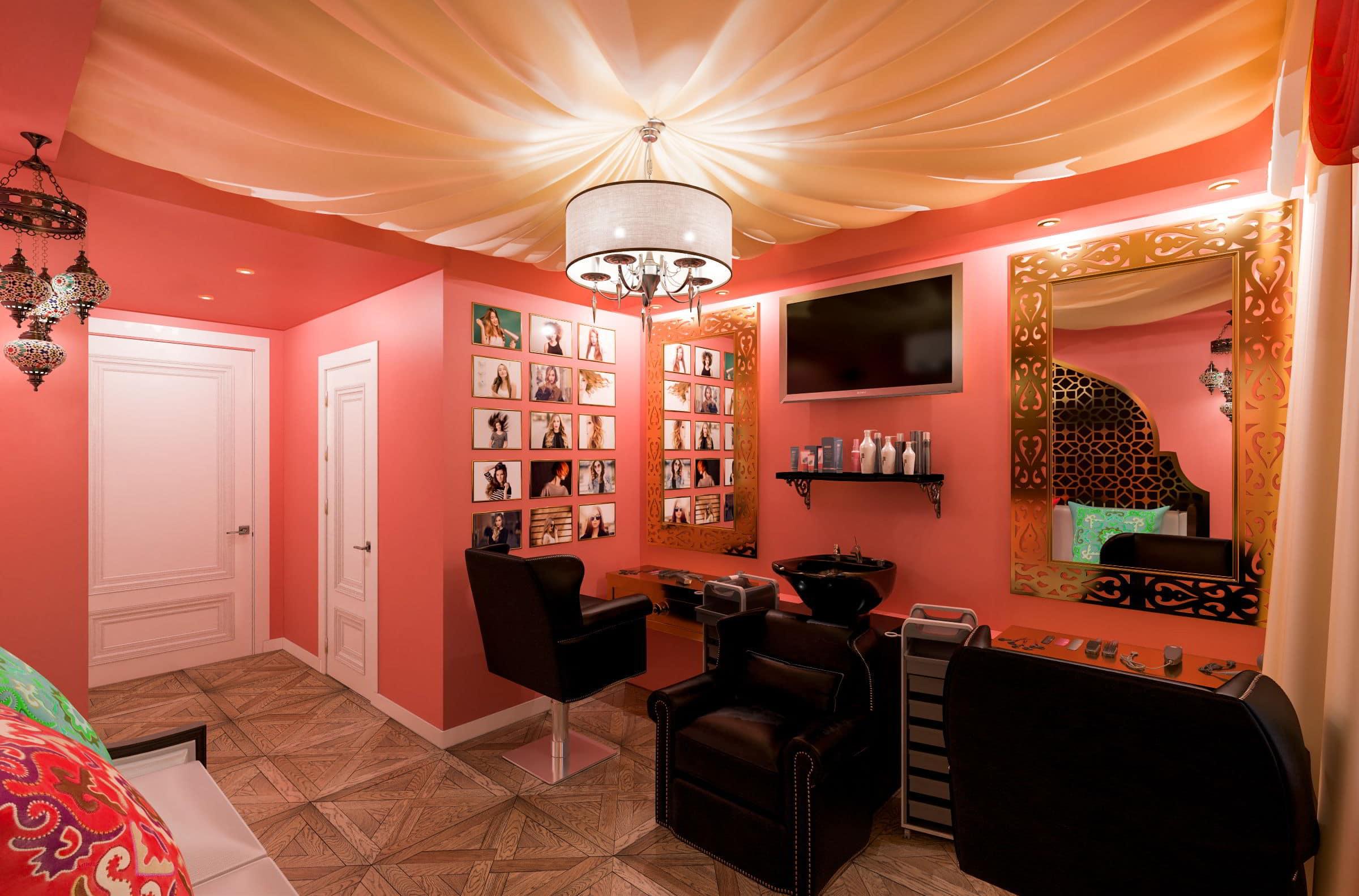 Дизайн интерьера салона красоты в гомеле, дизайн интерьера парикмахерской в турецком стиле фото, зеркала, мойка, кресла, паркет, потолок из ткани 1