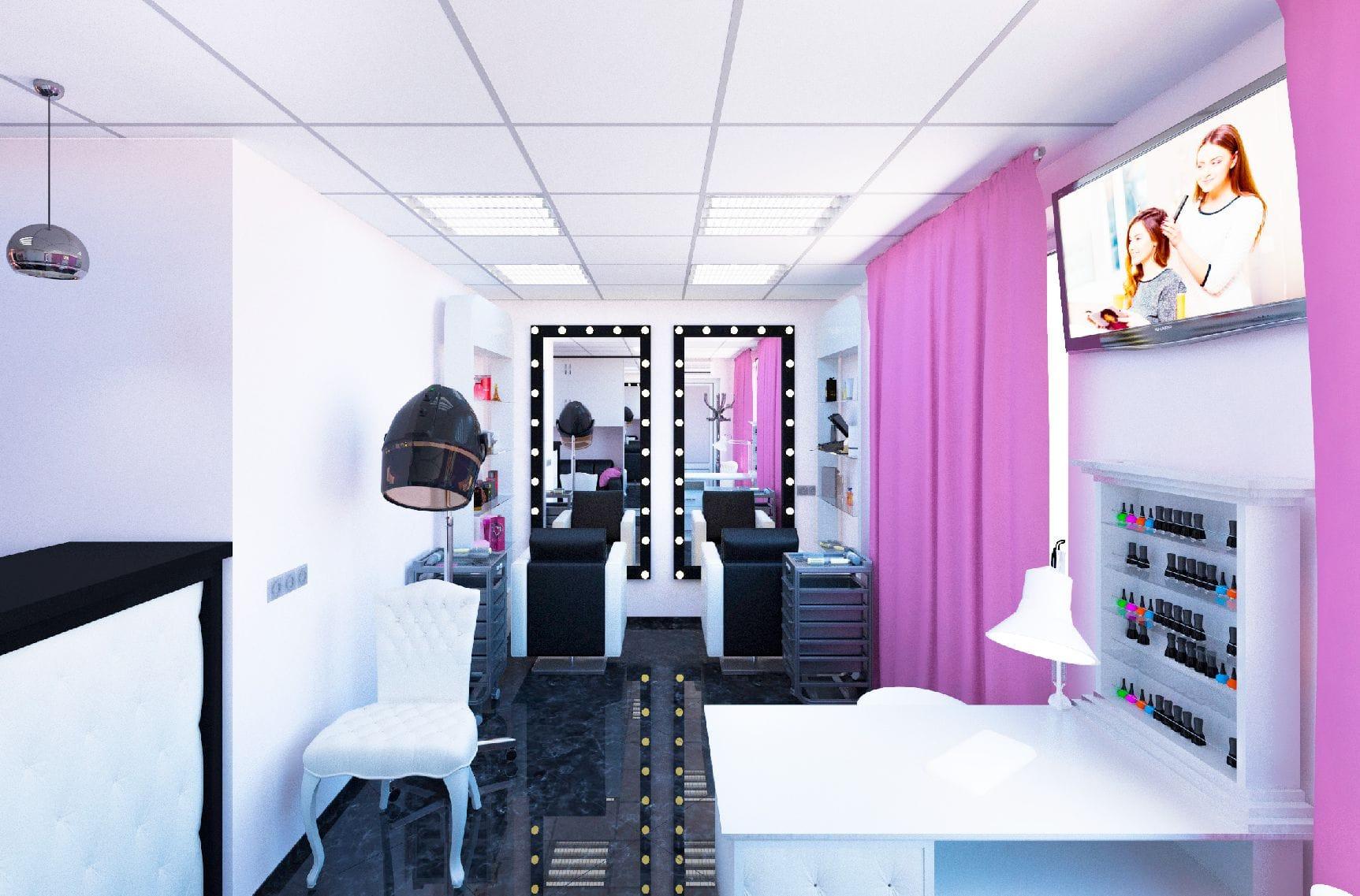 3д визуализация современная классика дизайн интерьера салона красоты комплектация подбор мебели и оборудования авторский надзор