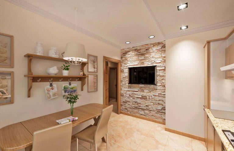 кухня в стиле эко, шале, с элементами натурального дерева и природного камня (камень дикарь), подвесная люстра над столом обеденным на кухне