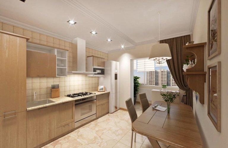 кухня с натуральным камнем и деревом