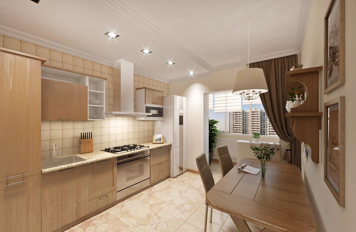 дизайн кухни с натуральным камнем и деревом