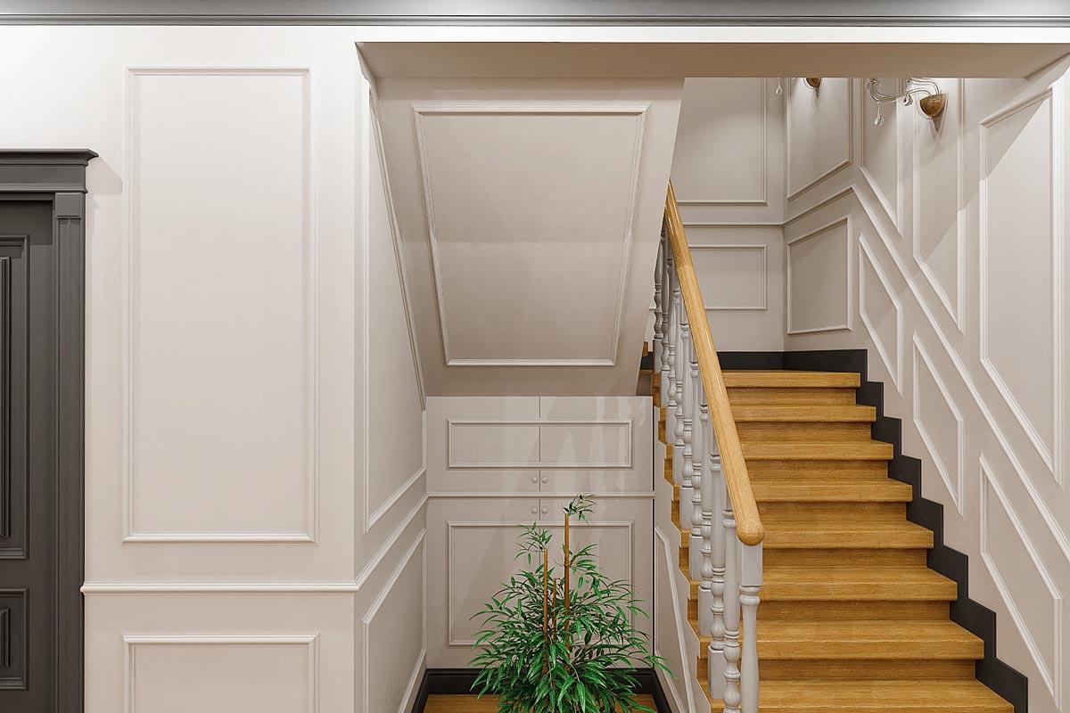 дизайн интерьера загородного дома в Гомеле, стильный интерьер коттеджа, вид на дверцы под лестницей из дерева, балясины из дерева, деревянные поручни, фото