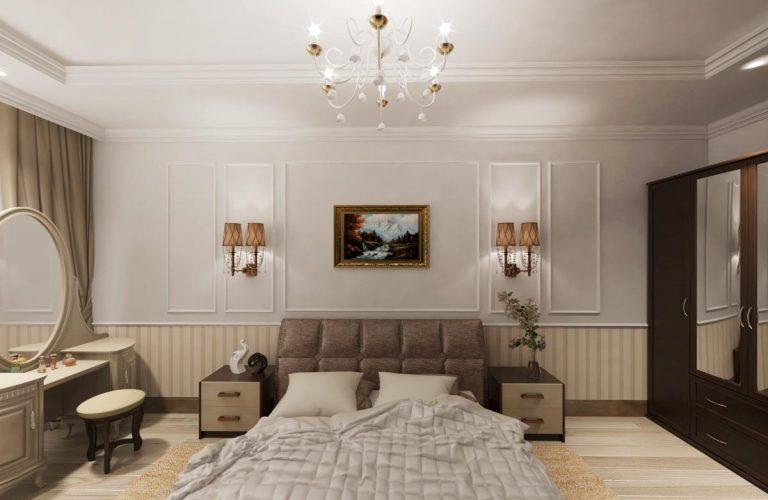 квартира в Ставрополе, спальня с картами на стенах бра посреди карт, кровать с кожаной спинкой
