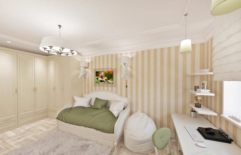 дизайн детской, современная классика, светлая комната, обои с вертикальными полосами, креативные бра голова лошади