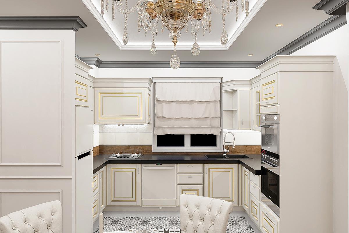 дизайн интерьера загородного дома в Гомеле, светло коричневые прямые шторы, светаля кухня из массива с золочением фото 3