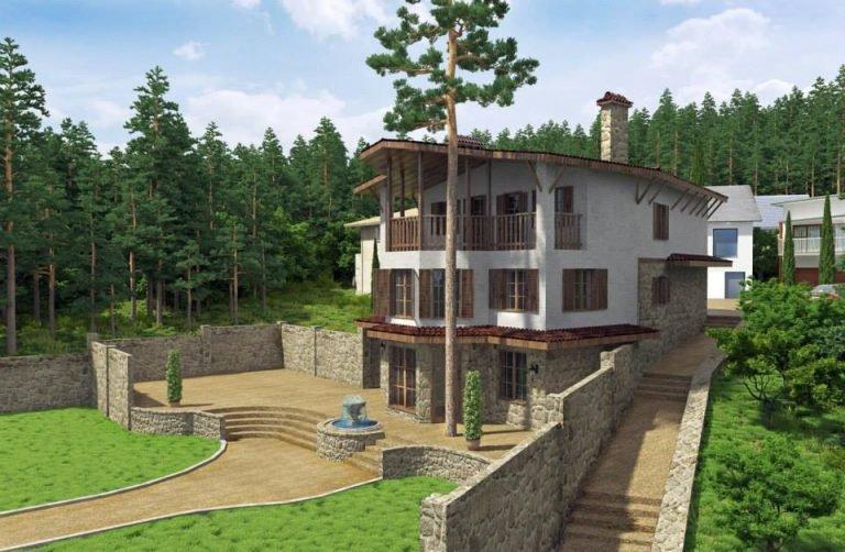 архитектурная концепция фасада дома и прилегающей територии в Ялте