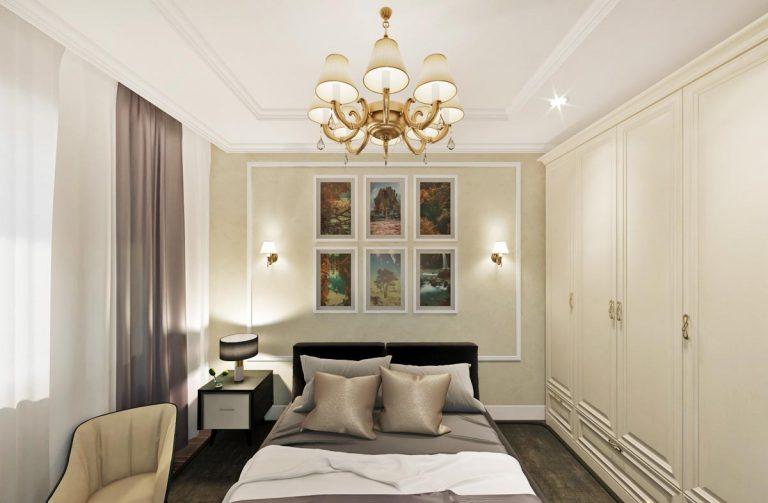 спальня в фисташковых, темно коричневых тонах для презентации будущим покупателям
