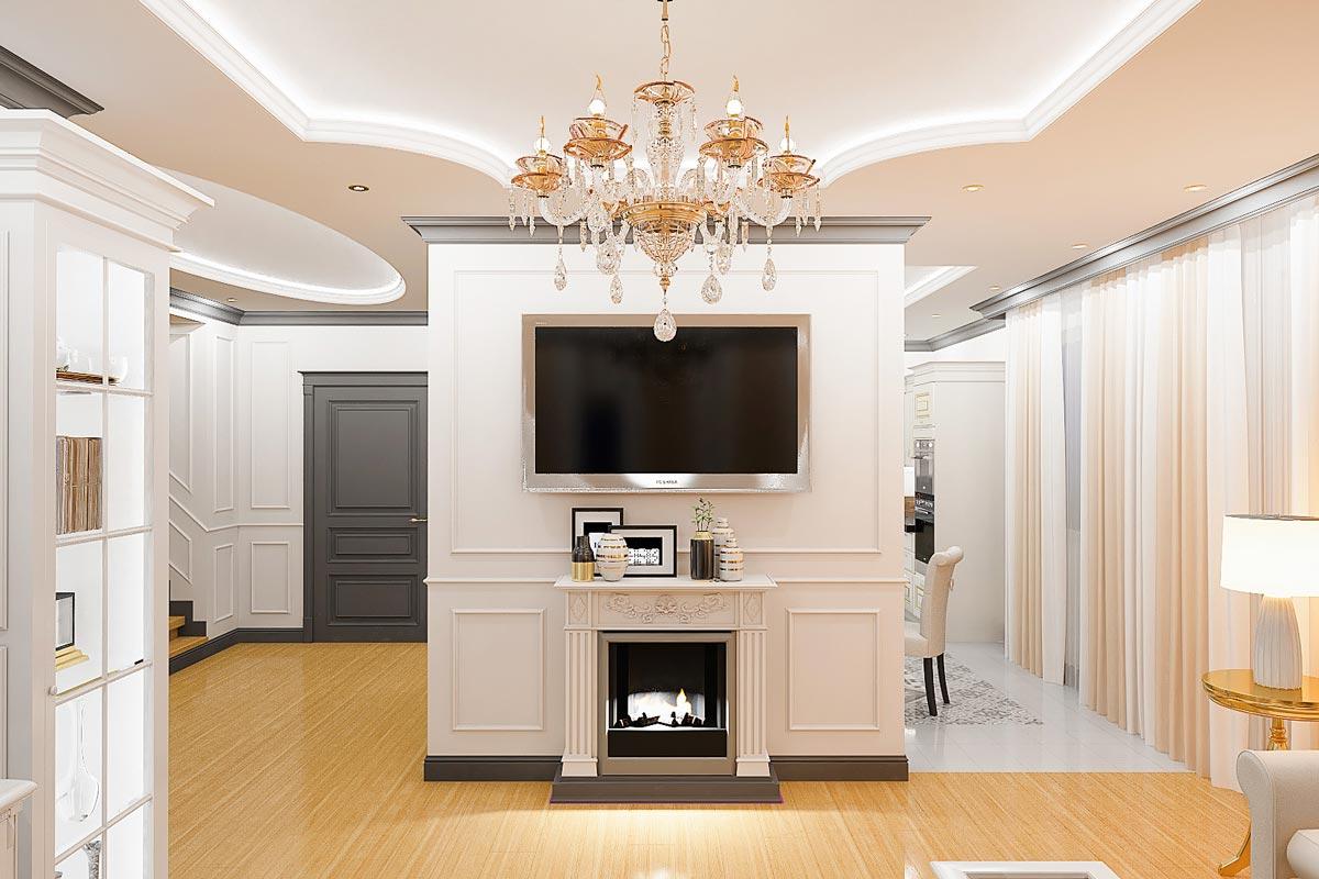 дизайн интерьера загородного дома в Гомеле, декоративный электрический камин с порталом под телевизором, хрустальная люстра в центре комнаты, фото 11