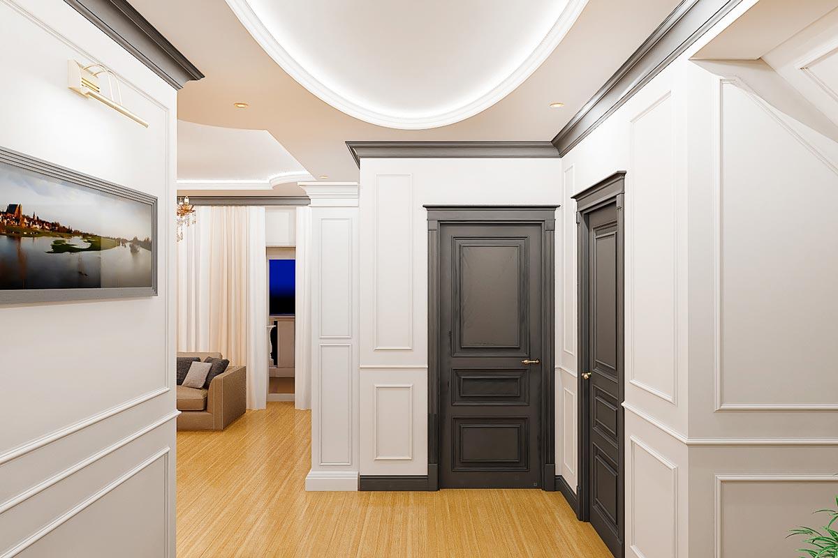 дизайн интерьера коридора в частном доме в Гомеле, овальный потолок с закарнизной подсветкой, картина с подсветкой в холле, молдинги на стенах, темно-серые двери карнизы и плинтусы