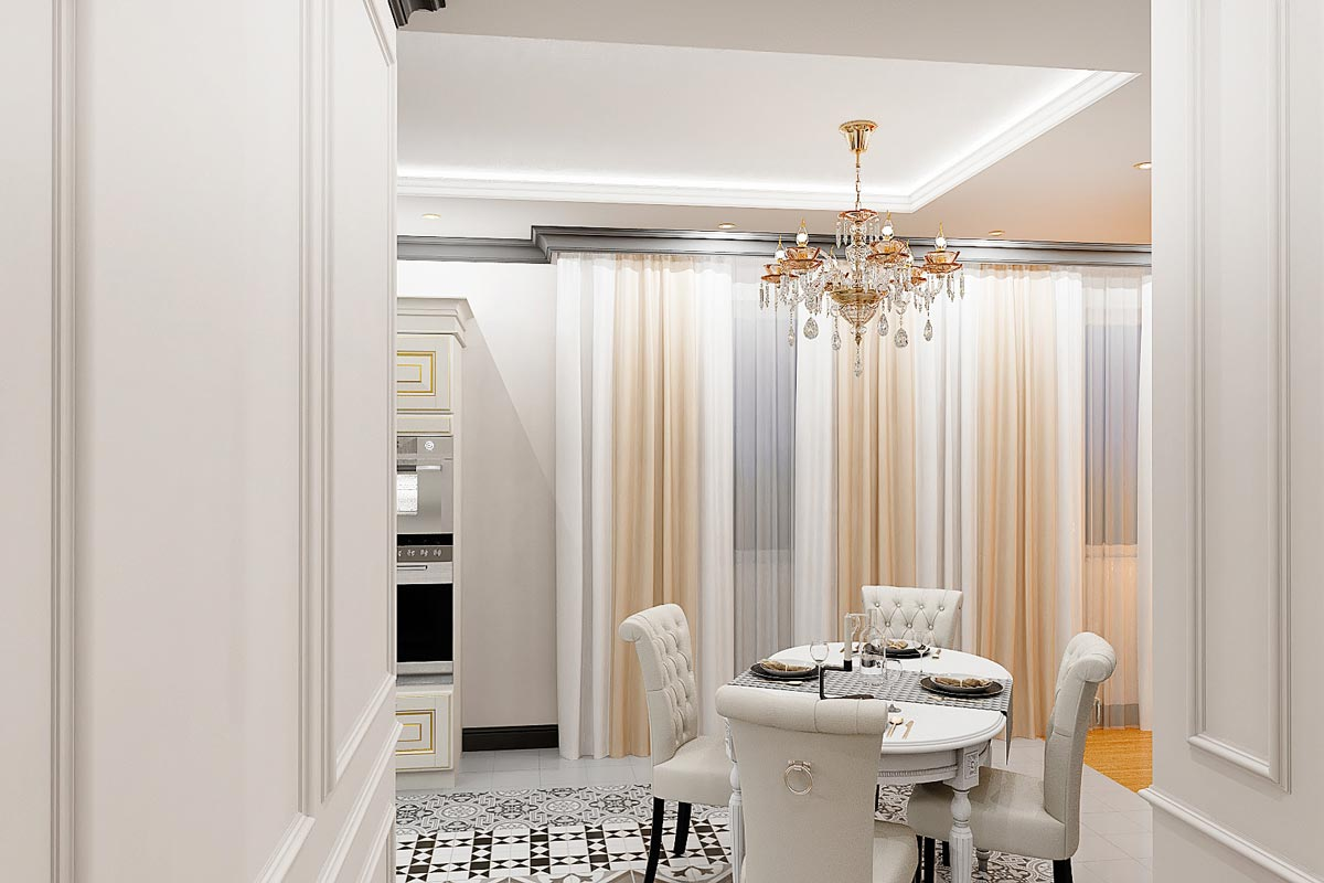 дизайн интерьера загородного дома в Гомеле, хрустальная люстра над обеденным столом, стулья с мягкой спинкой, каретной стяжкой, светлая кожа, шторы фото 14