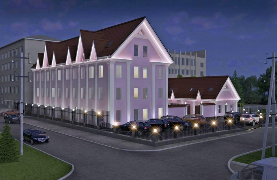 Световое оформление фасада админитративного здания,3д изображение для девелоперов, застройщиков и строительной компании