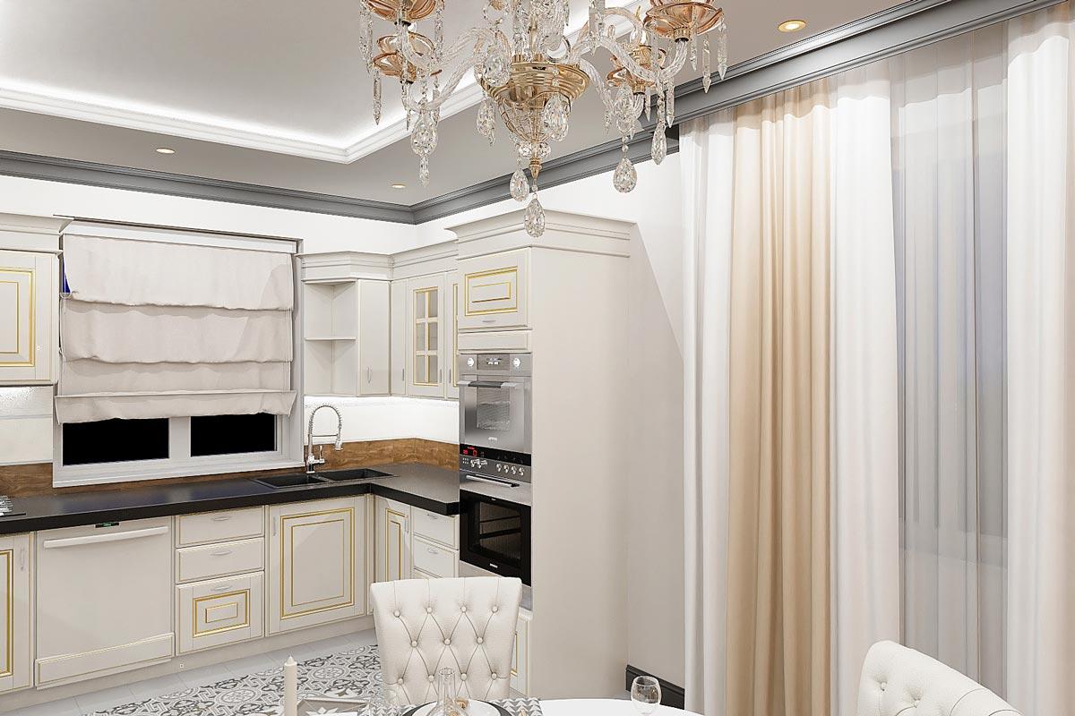 дизайн интерьера загородного дома в Гомеле, светло коричневые прямые шторы, светаля кухня из массива с золочением фото 2