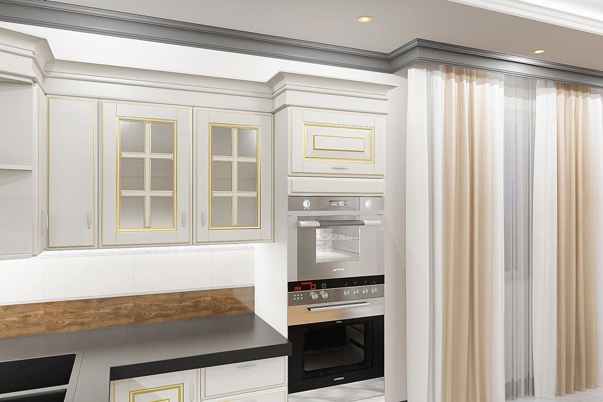 дизайн интерьера загородного дома в Гомеле, вид на встраиваемую бытовую технику в шкаф, современная техника в классической кухне, фото 3